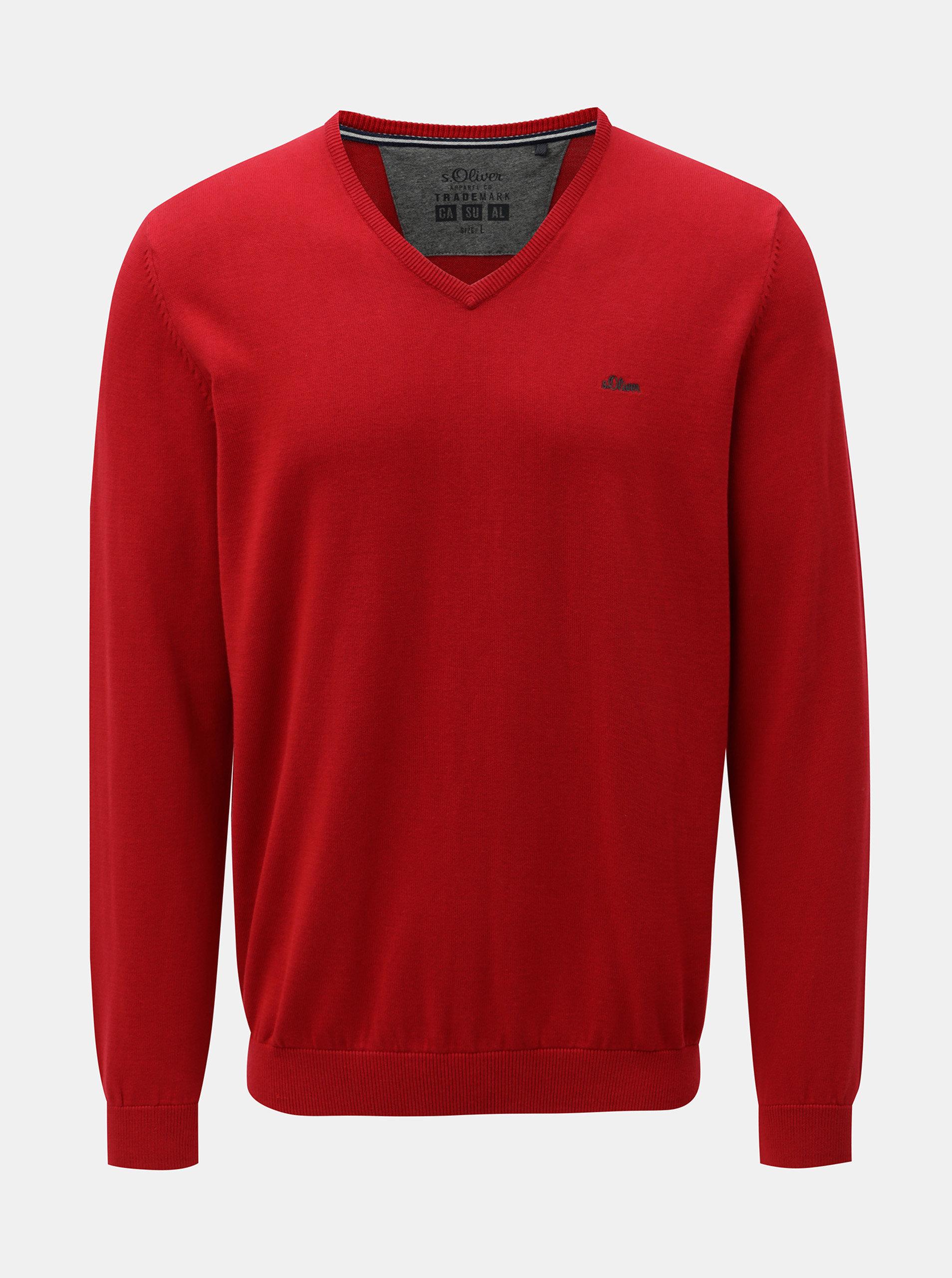 Červený pánský lehký svetr s véčkovým výstřihem s.Oliver