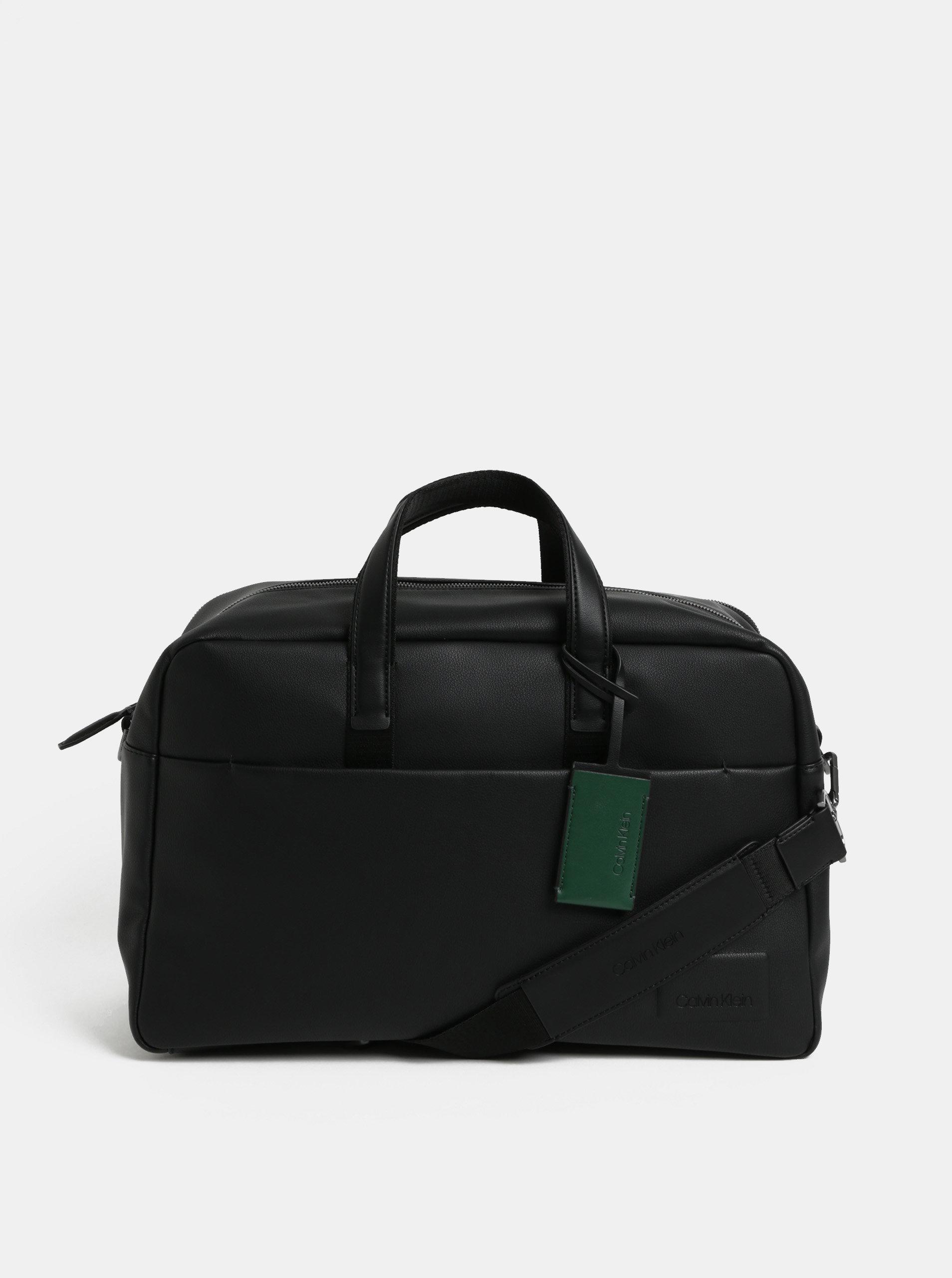 Černá koženková cestovní taška Calvin Klein Jeans