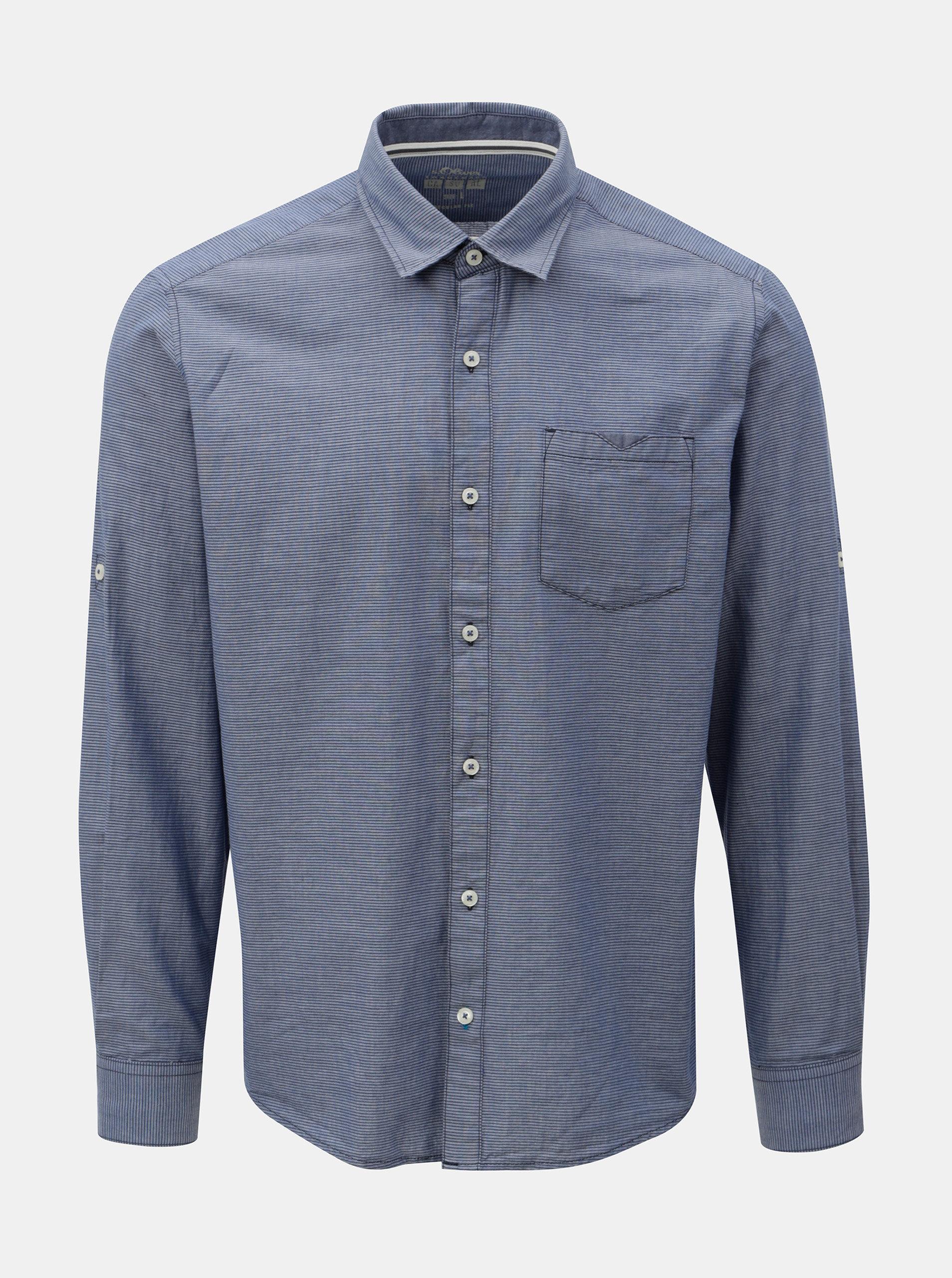 Modrá pánská pruhovaná regular fit košile s.Oliver