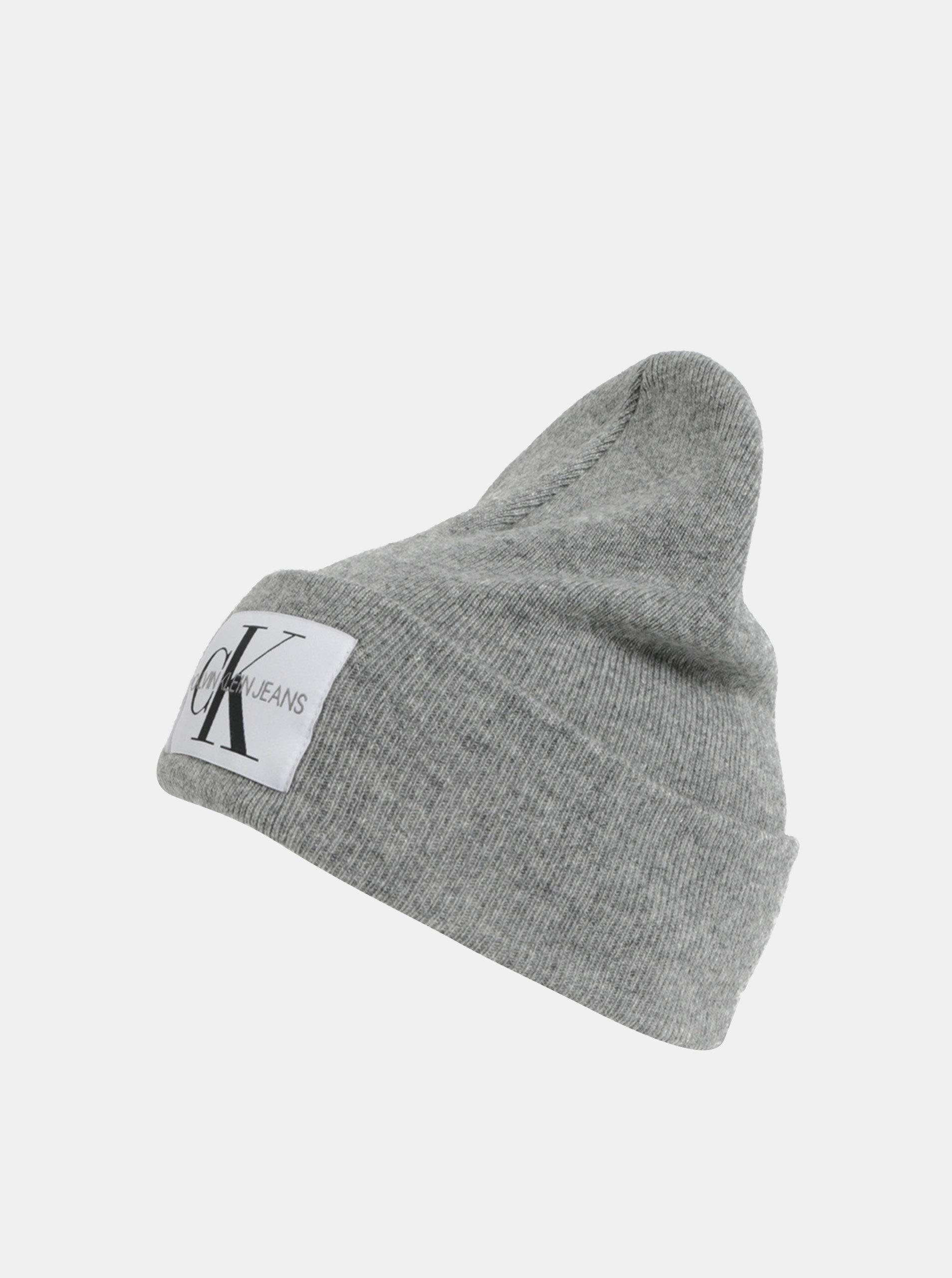 53056f5d0 Sivá dámska melírovaná čiapka s prímesou vlny a kašmíru Calvin Klein Jeans  ...