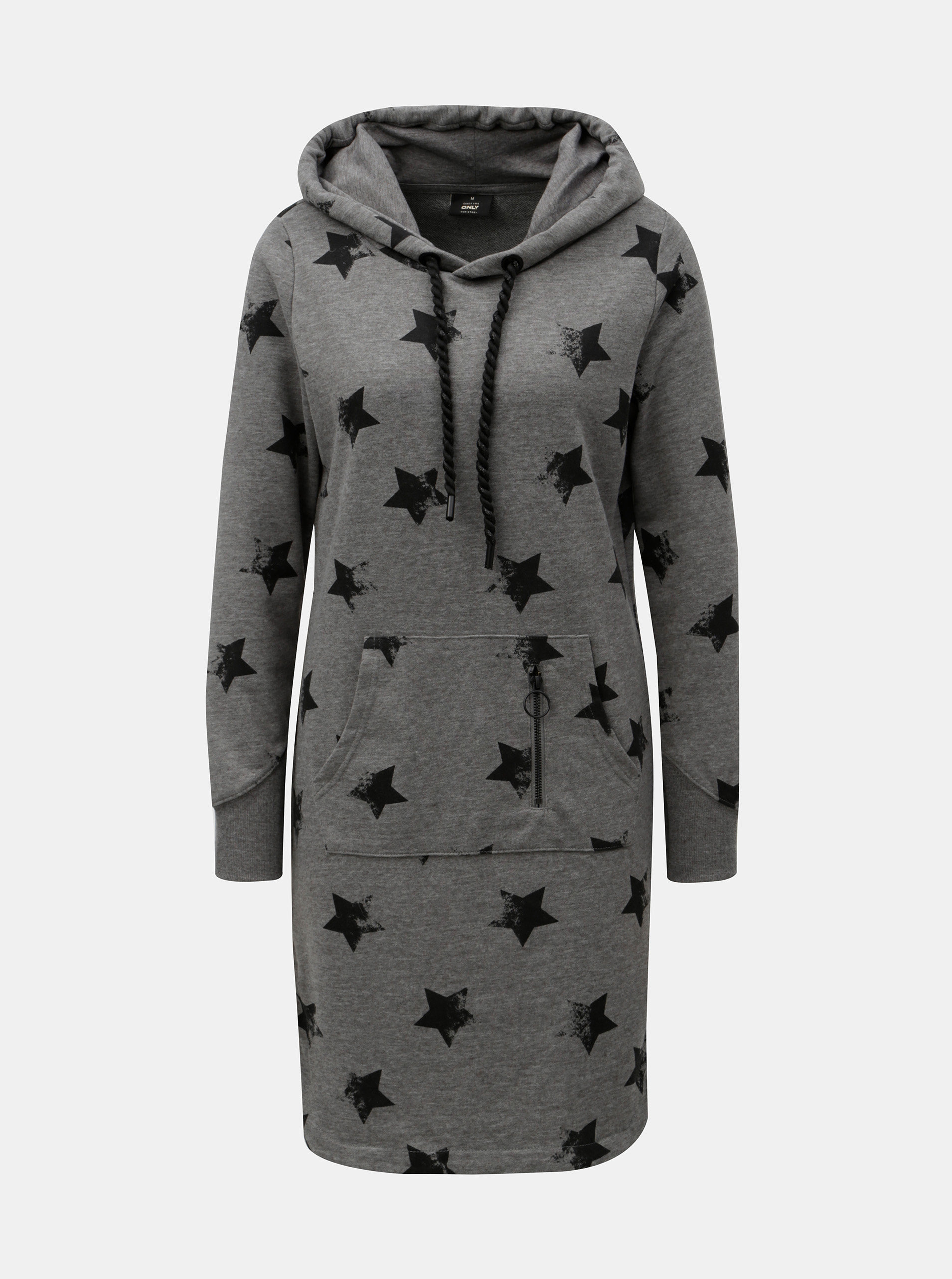 Šedé žíhané mikinové šaty s motivem hvězd ONLY Awesome