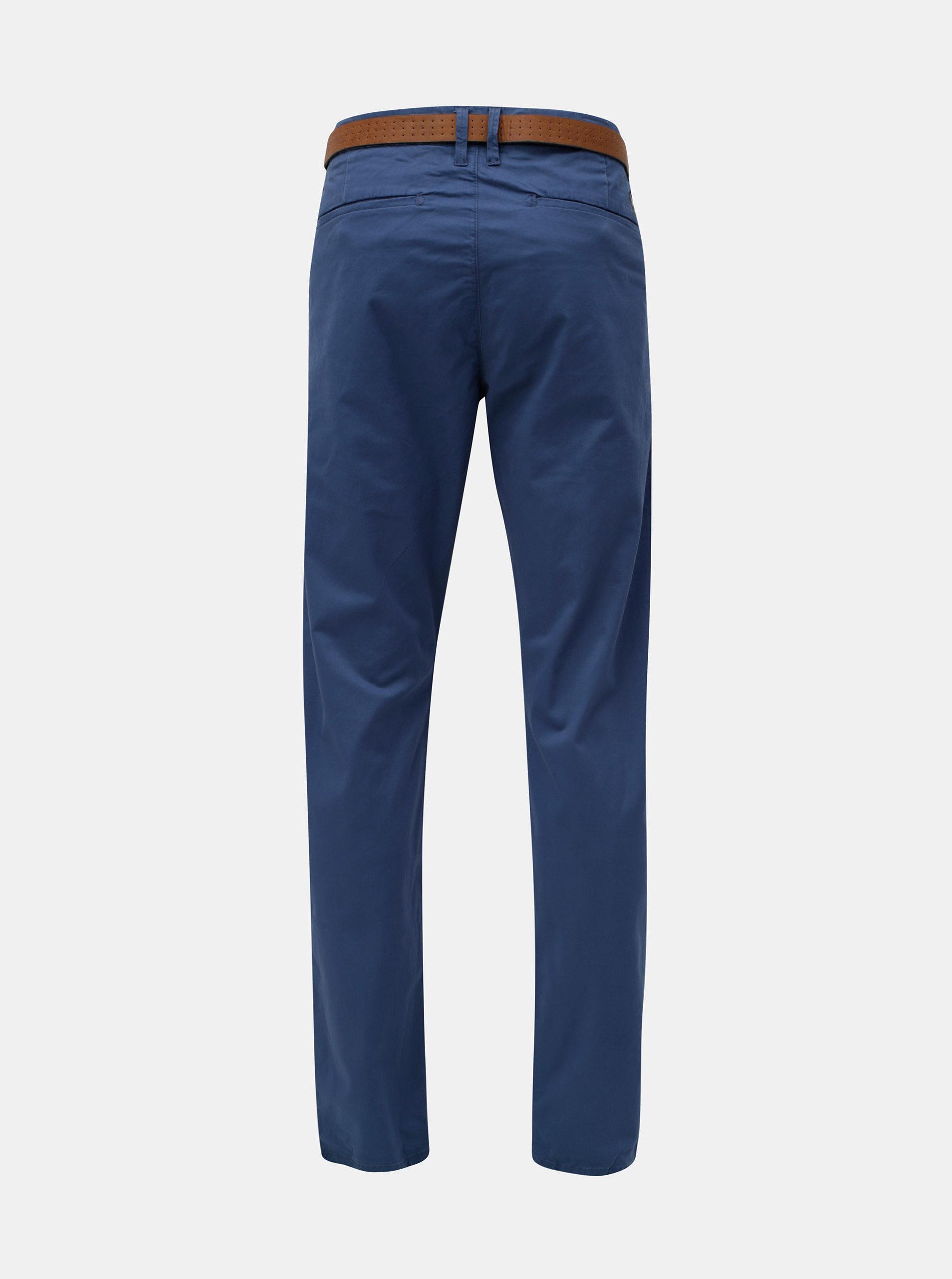 ccb8aa382a12 Modré pánske slim fit straight chino nohavice s opaskom s.Oliver ...