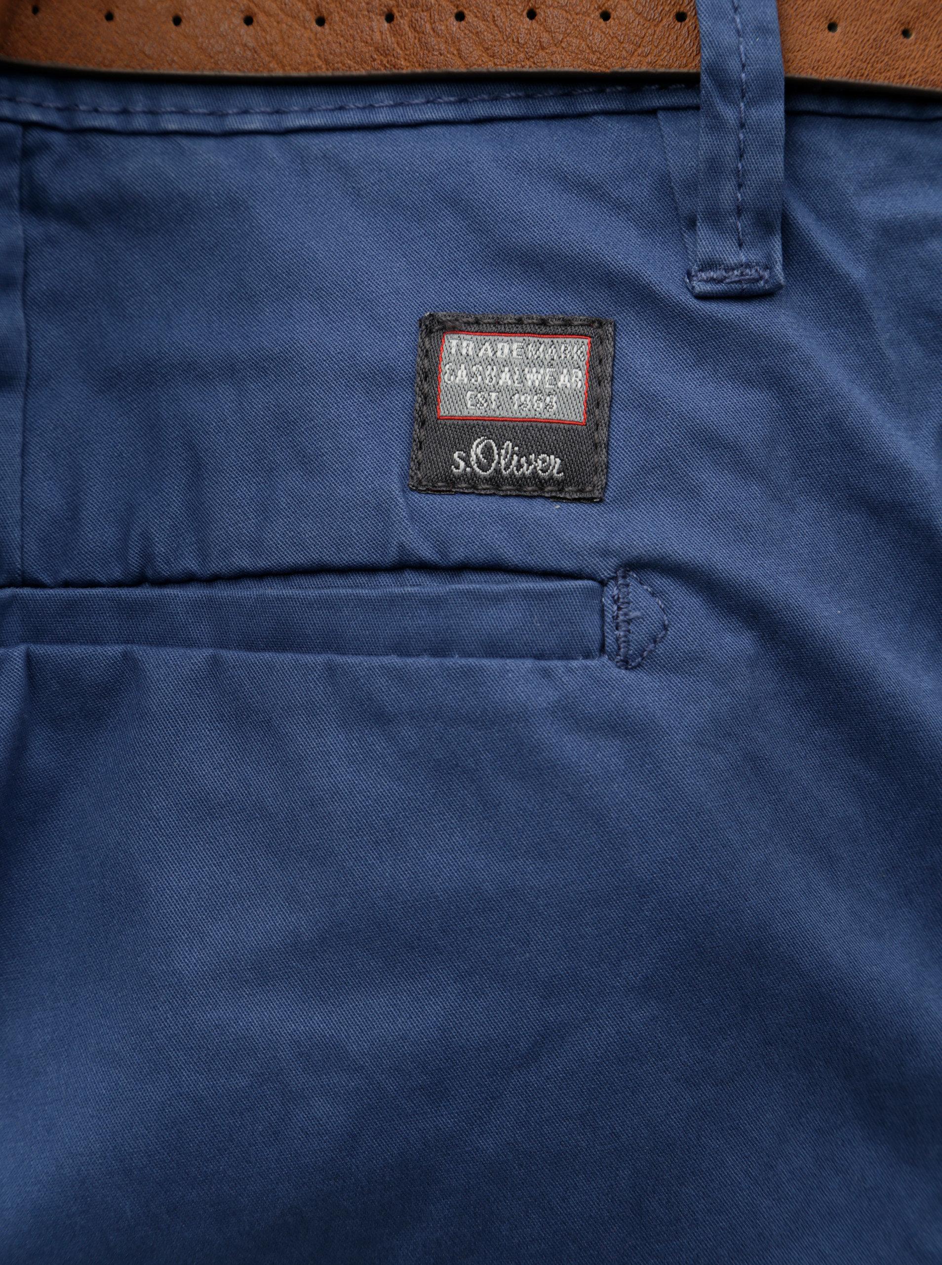 Modré pánské slim fit straight chino kalhoty s páskem s.Oliver  20acb260db