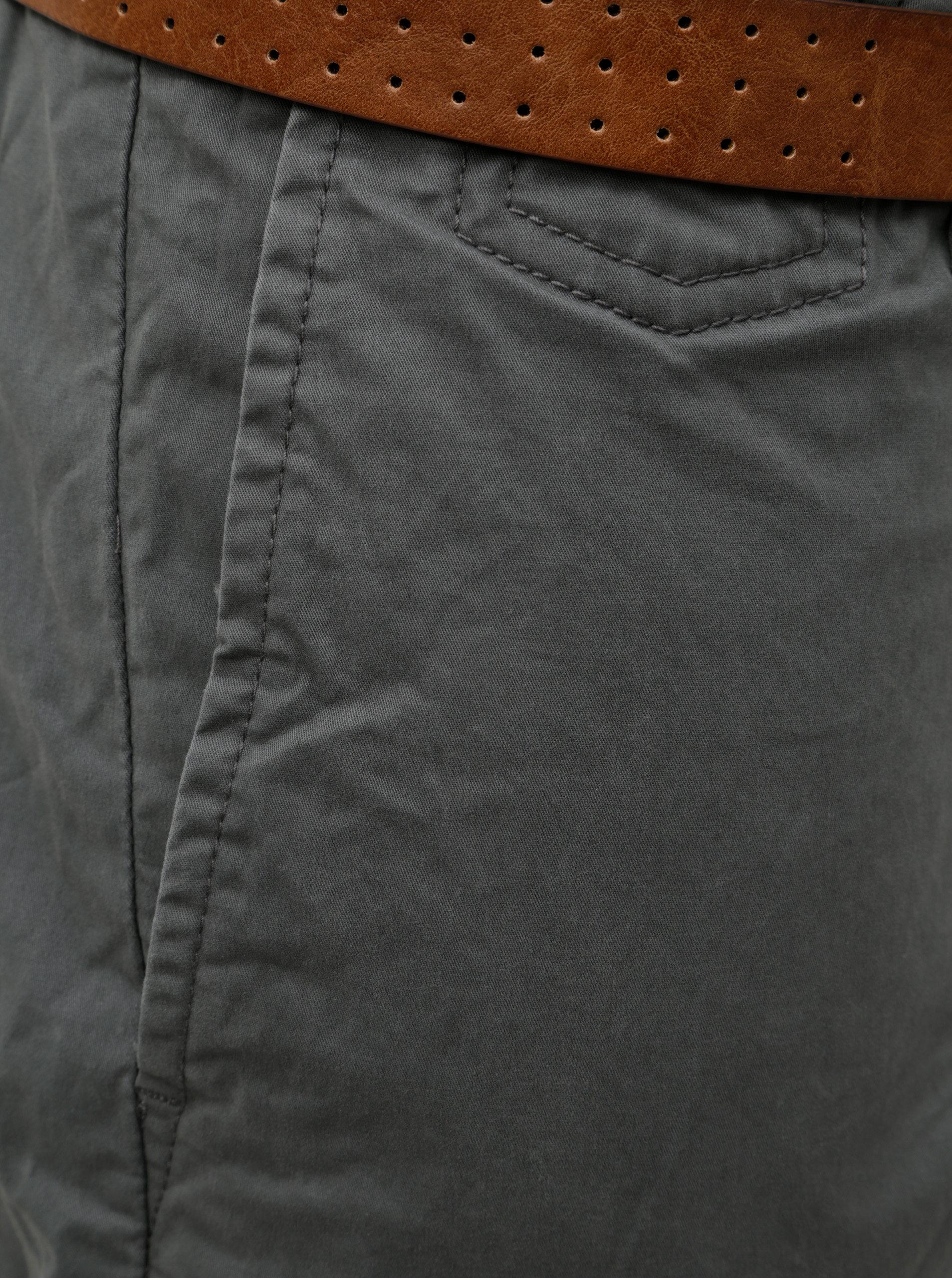 Šedé pánské slim fit straight chino kalhoty s páskem s.Oliver  2aa290466f