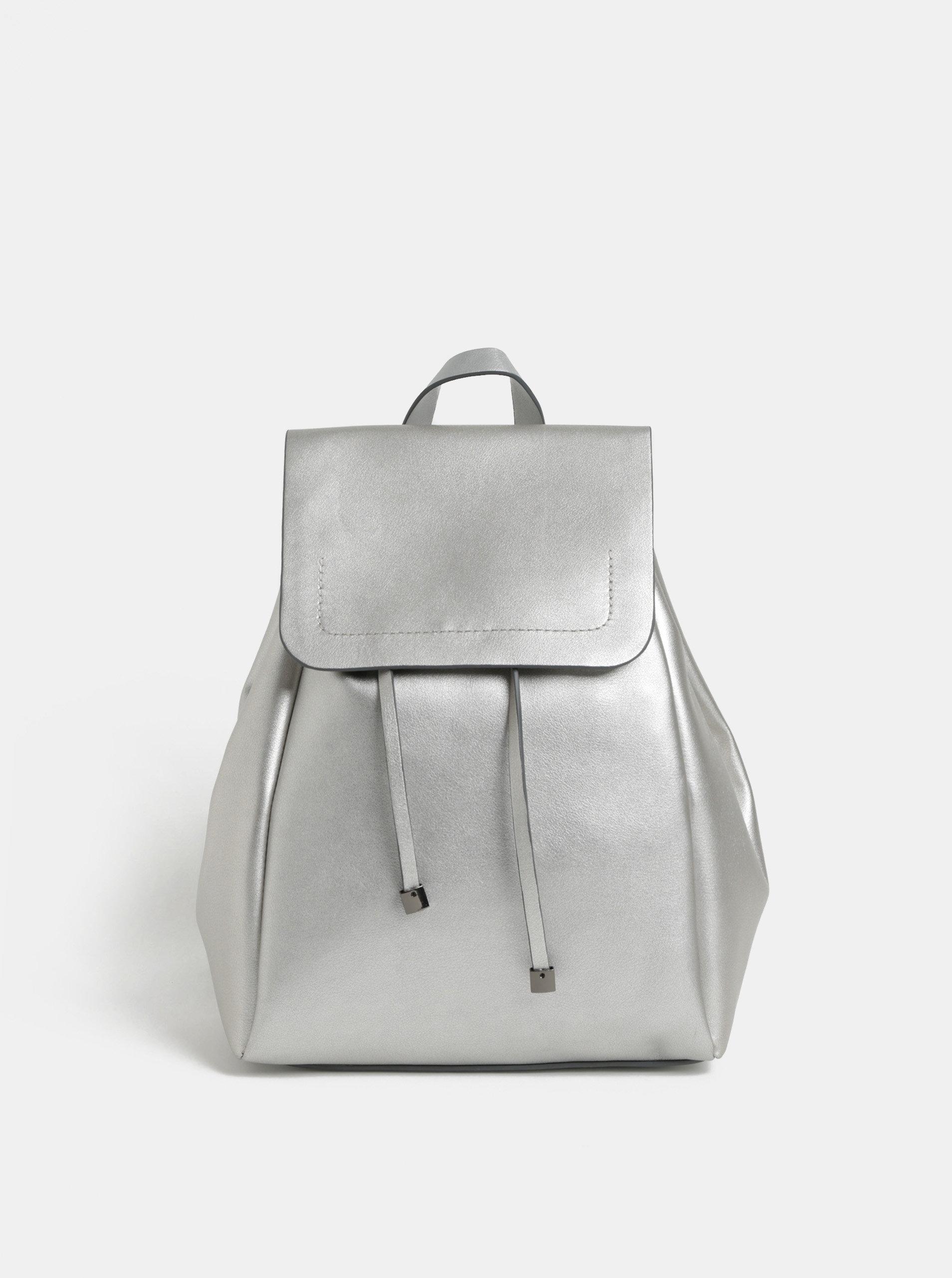 Dámský koženkový batoh ve stříbrné barvě Pieces Flora