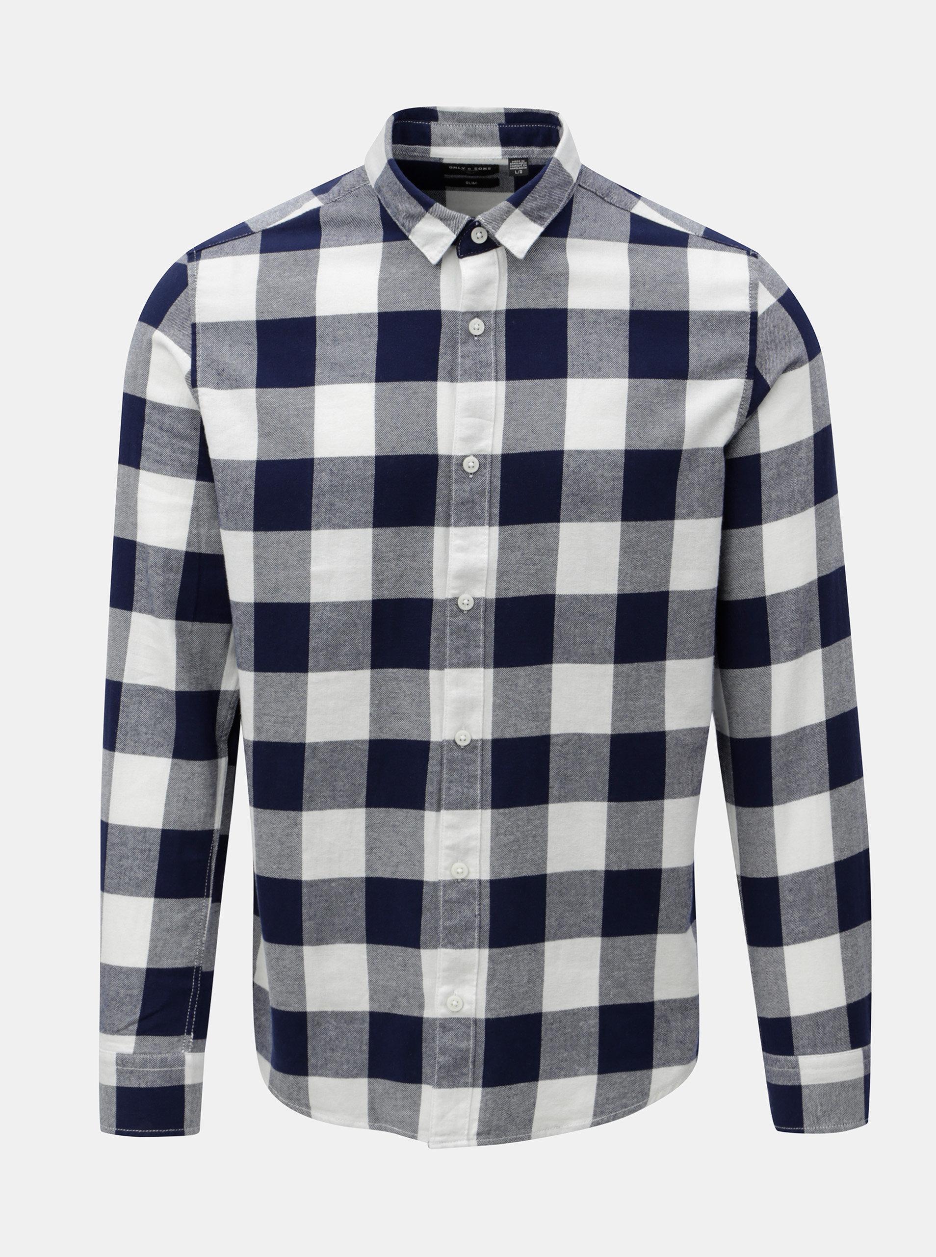 Bílo-modrá kostkovaná slim košile s dlouhým rukávem ONLY   SONS Gudmund 5a673a3177