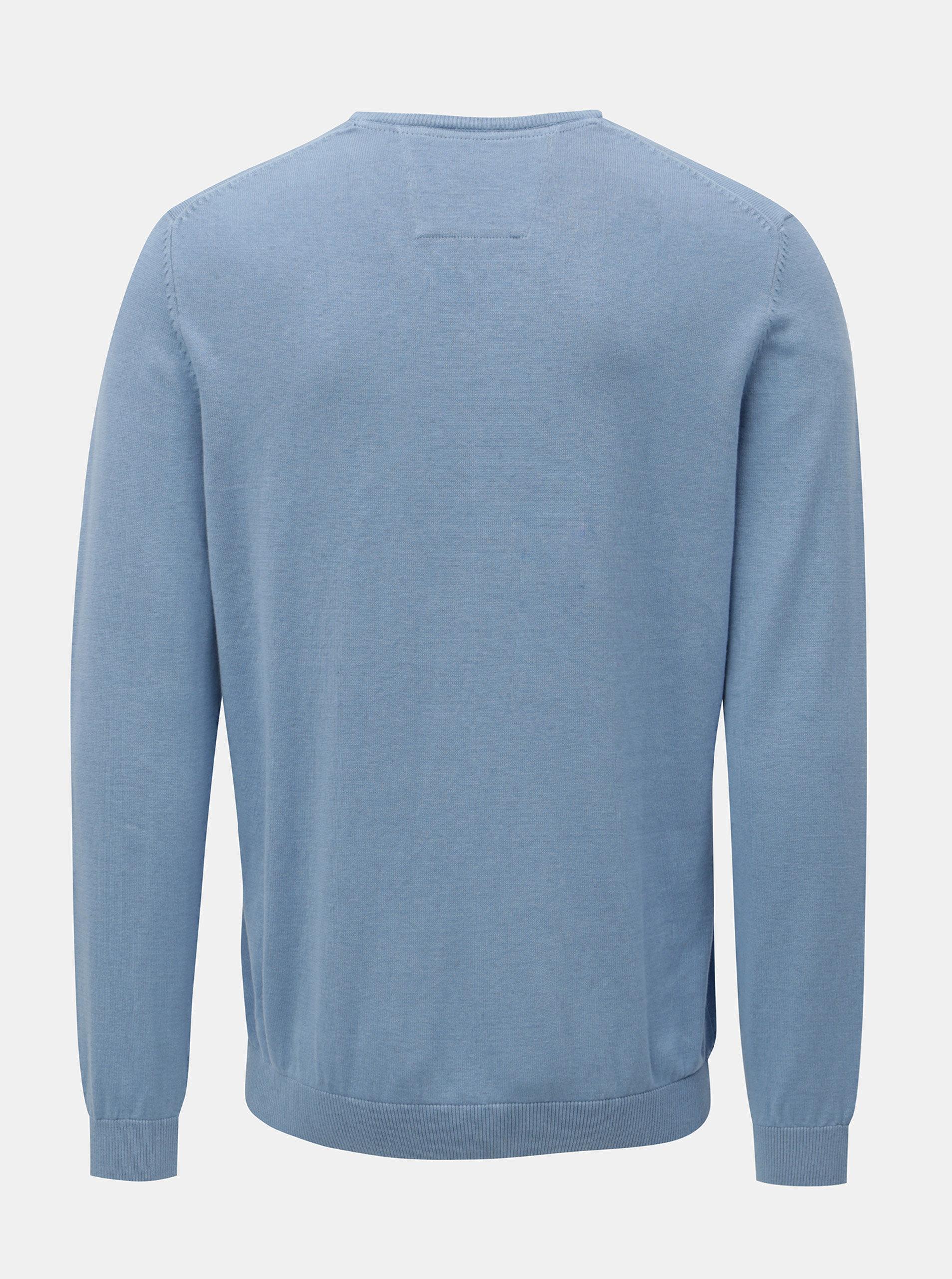 8e9310434023 Modrý pánsky tenký sveter s véčkovým výstrihom s.Oliver