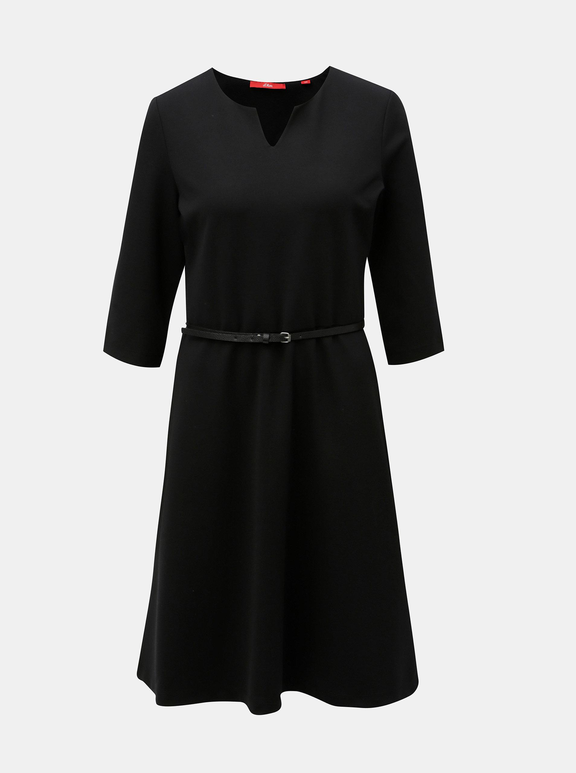 Černé šaty s páskem a 3/4 rukávem s.Oliver