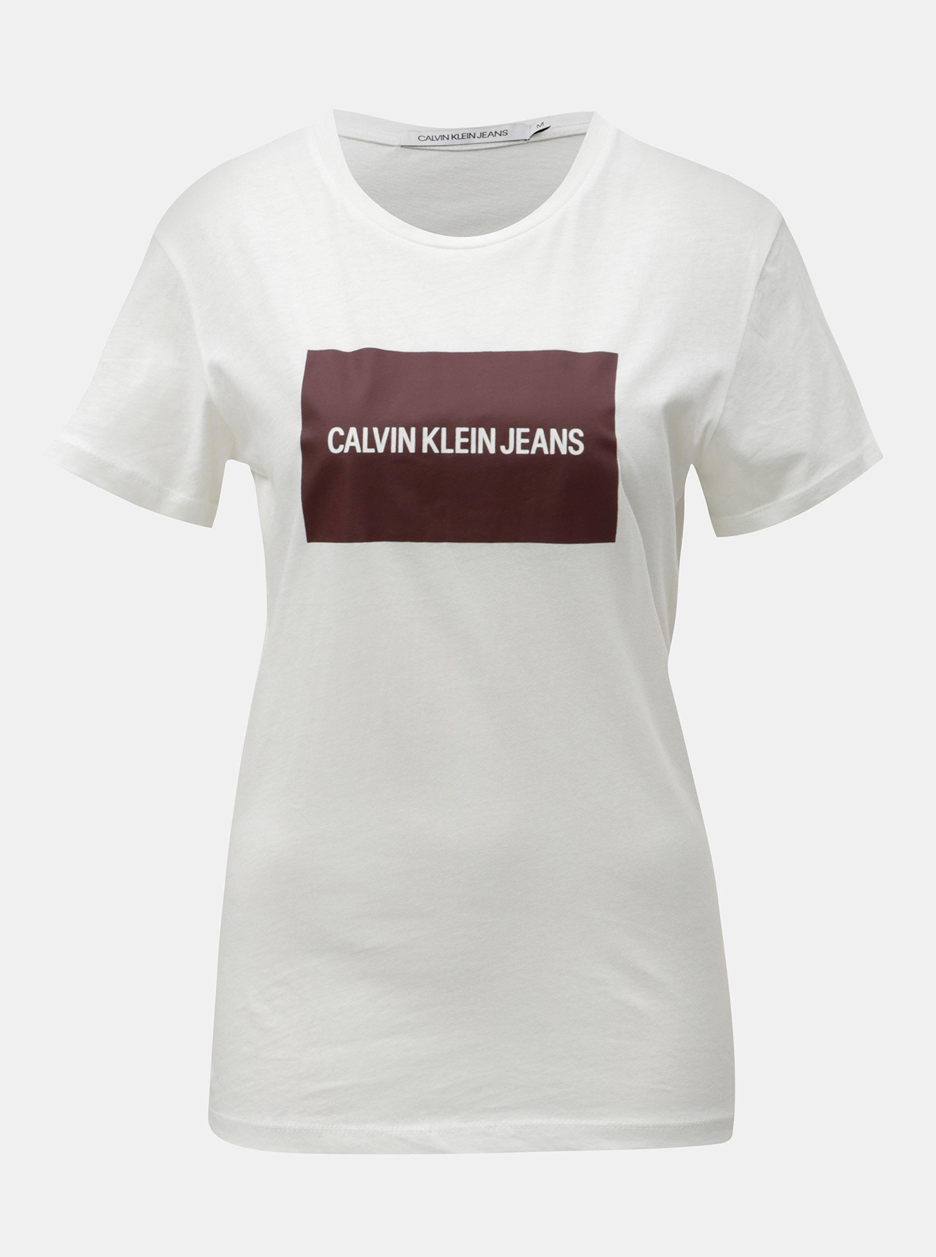 Bílé dámské tričko s potiskem Calvin Klein Jeans ... 80b681df8ba