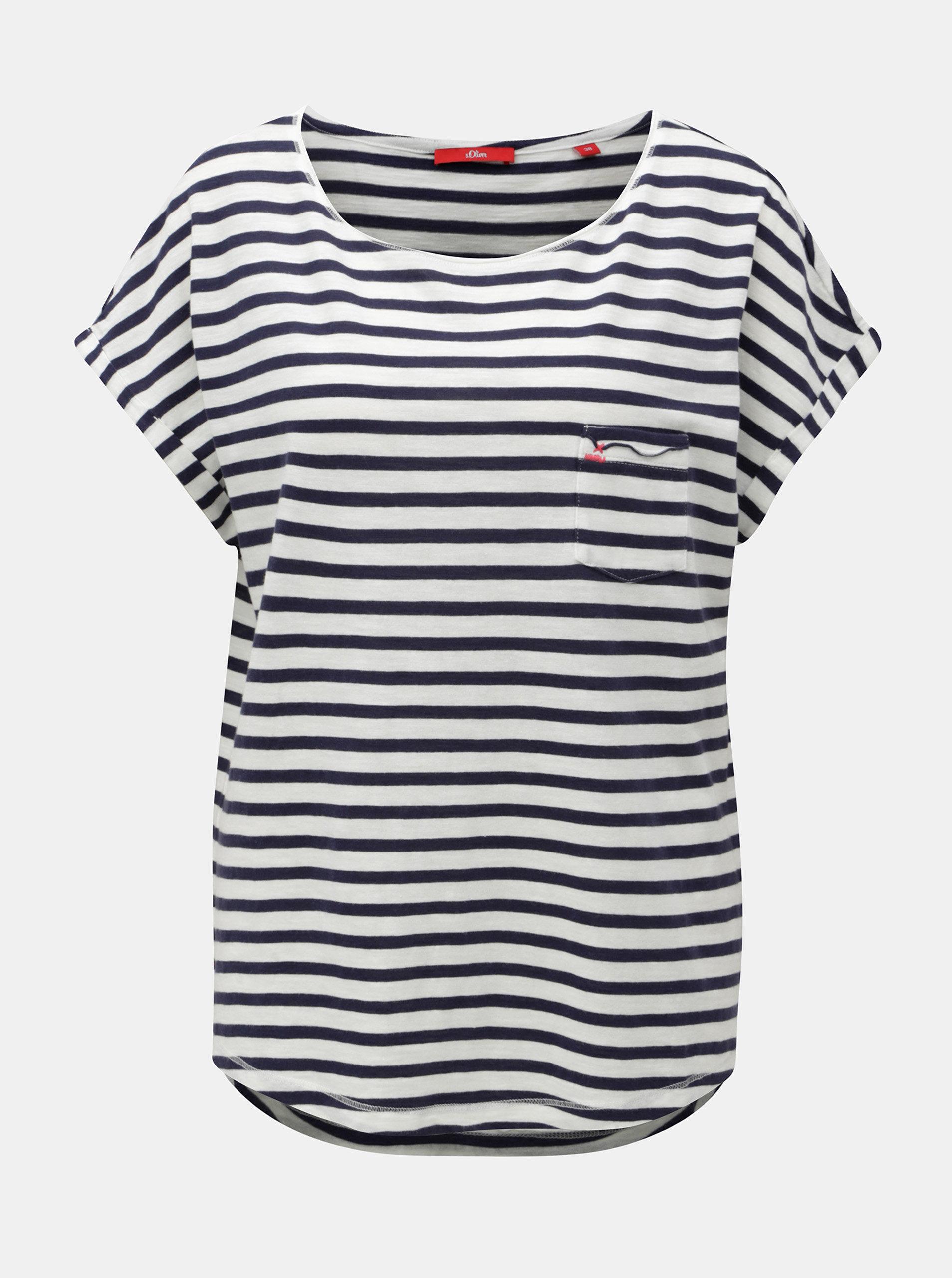 32f4951cca3 Bílo-modré dámské pruhované tričko s.Oliver