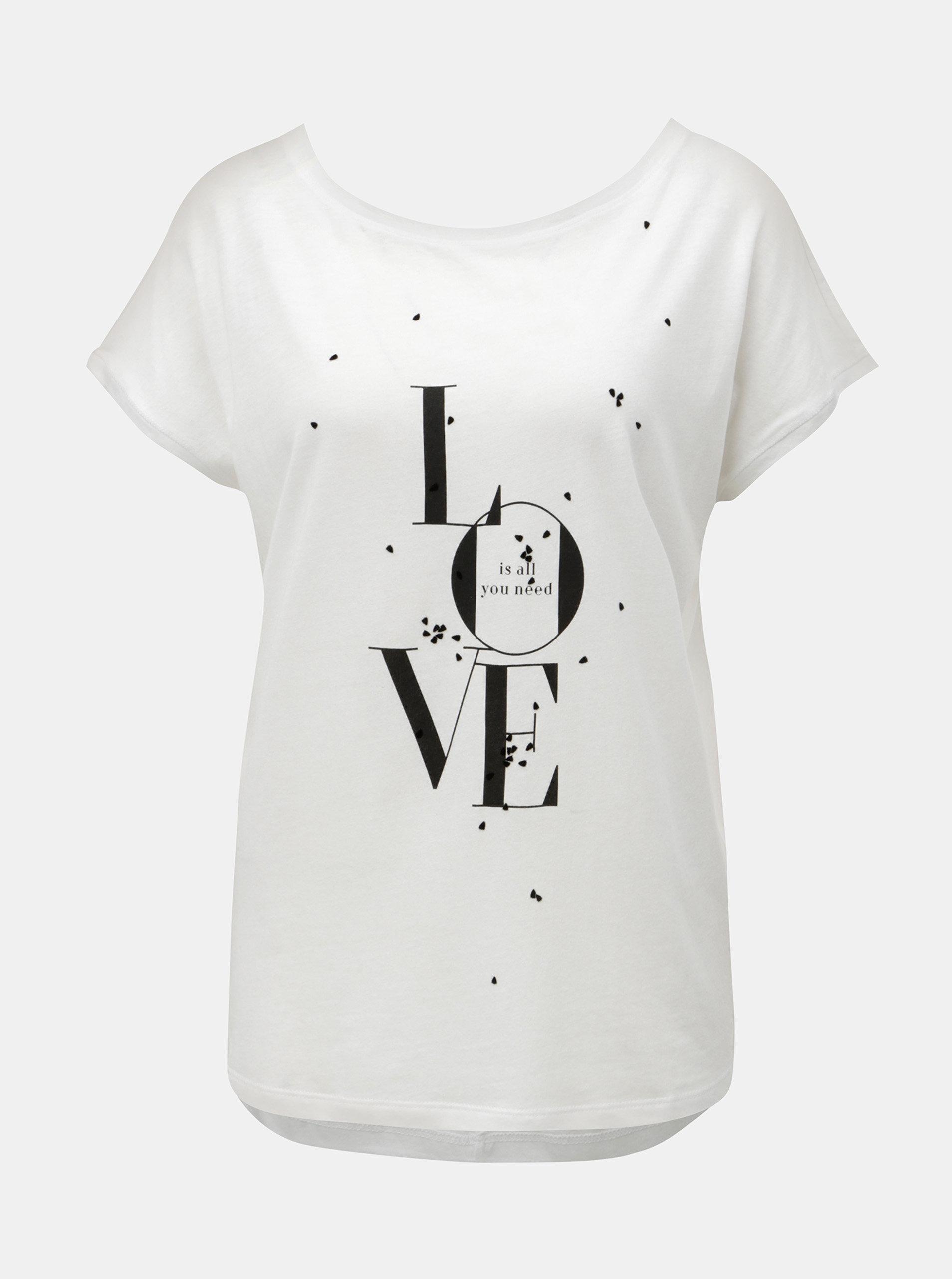 06db907b0cca Biele dámske voľné tričko s potlačou s.Oliver
