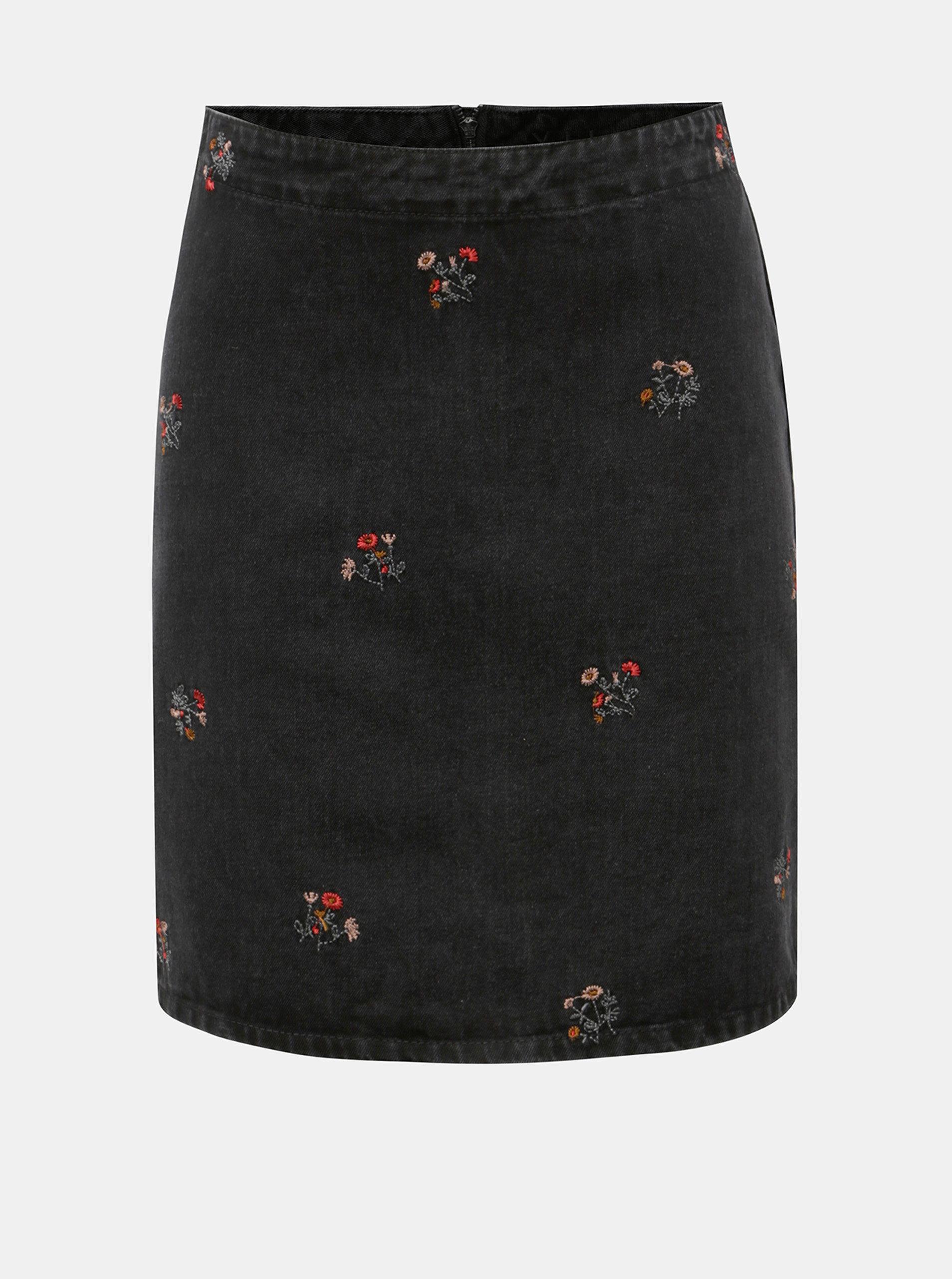 Černá džínová sukně s květovanou výšivkou VILA Dahla