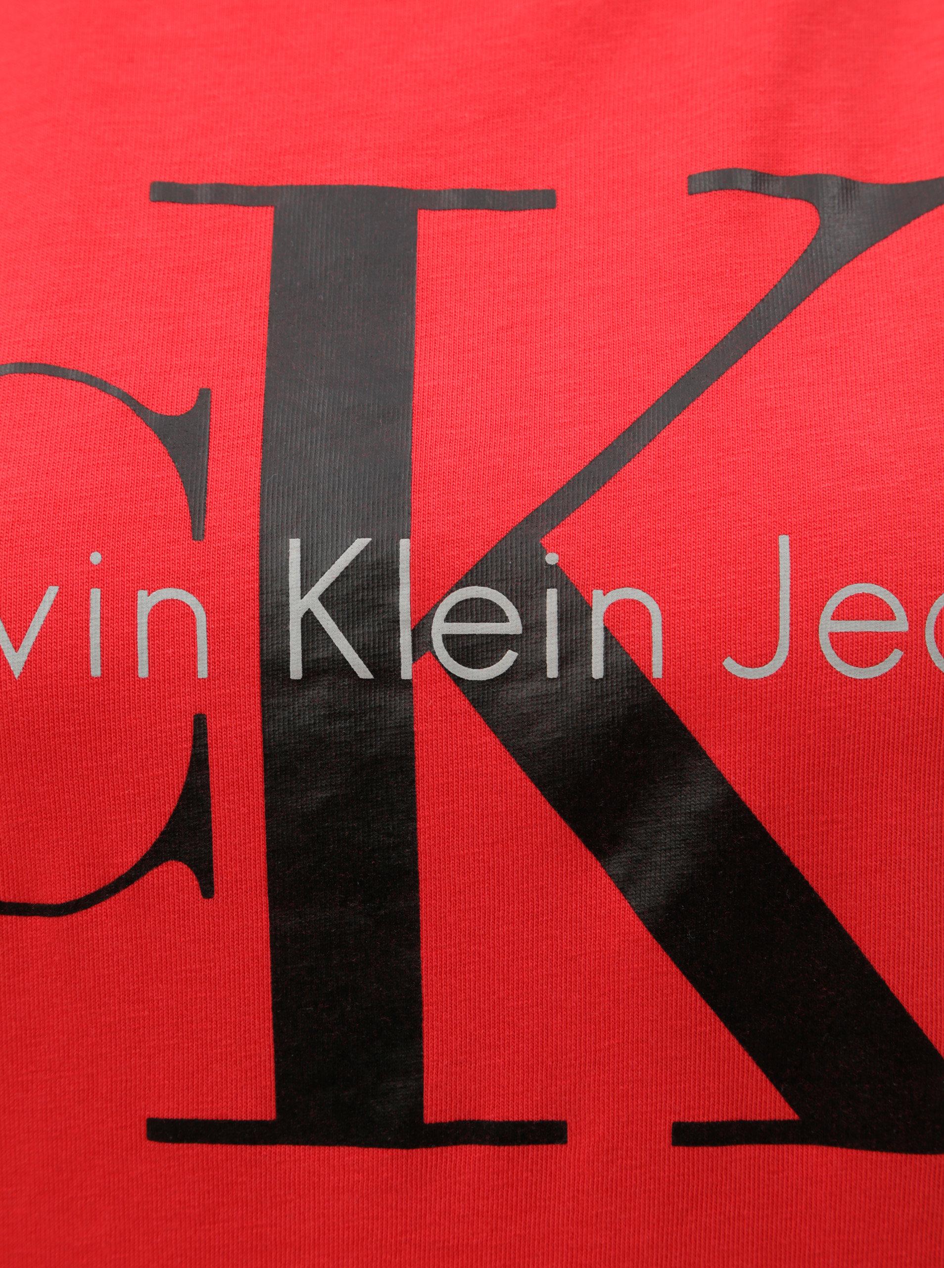 cef07d41893 Červené dámské tričko s potiskem Calvin Klein Jeans ...