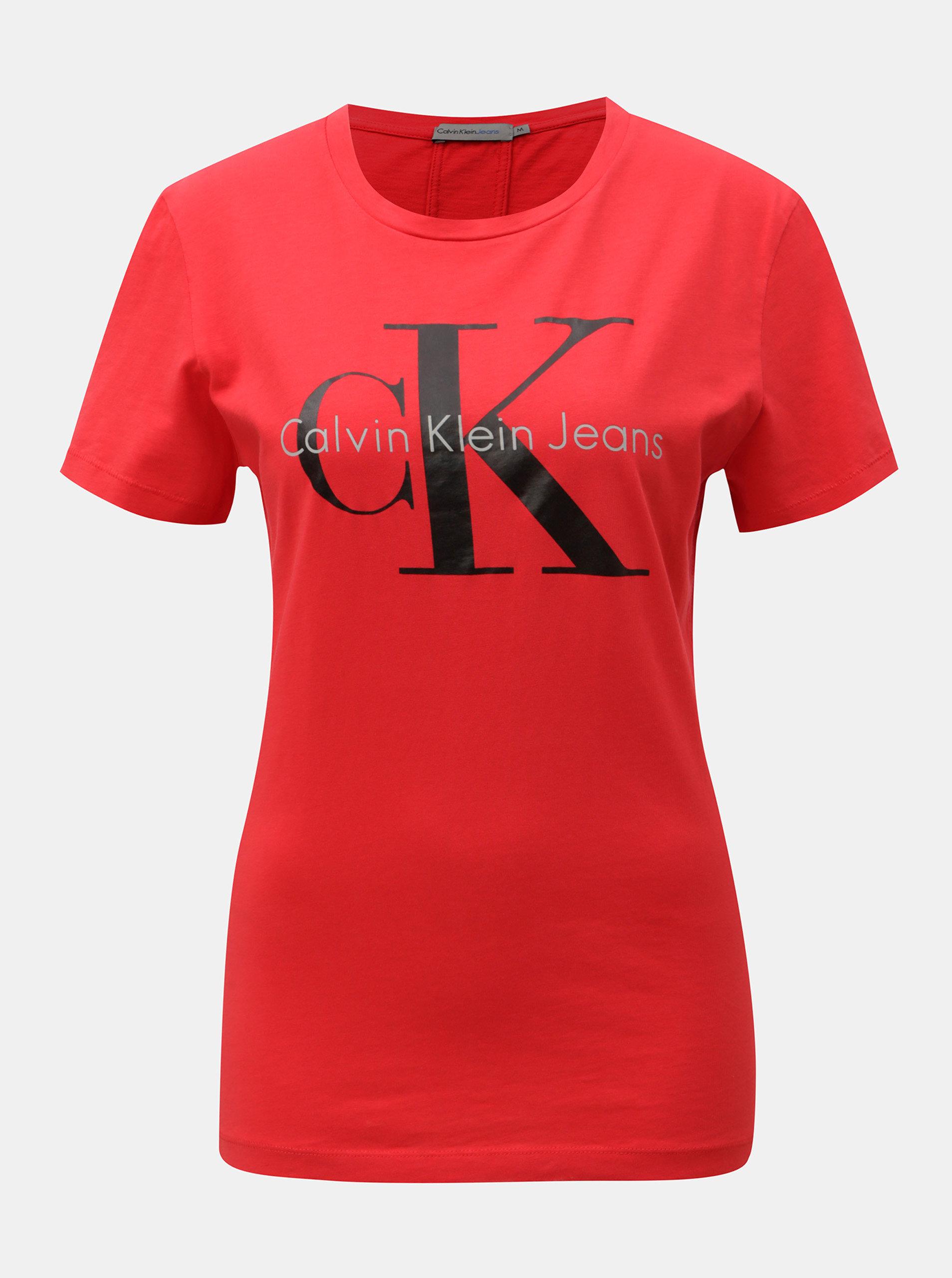 8ec9f2c2c3fa Červené dámské tričko s potiskem Calvin Klein Jeans ...