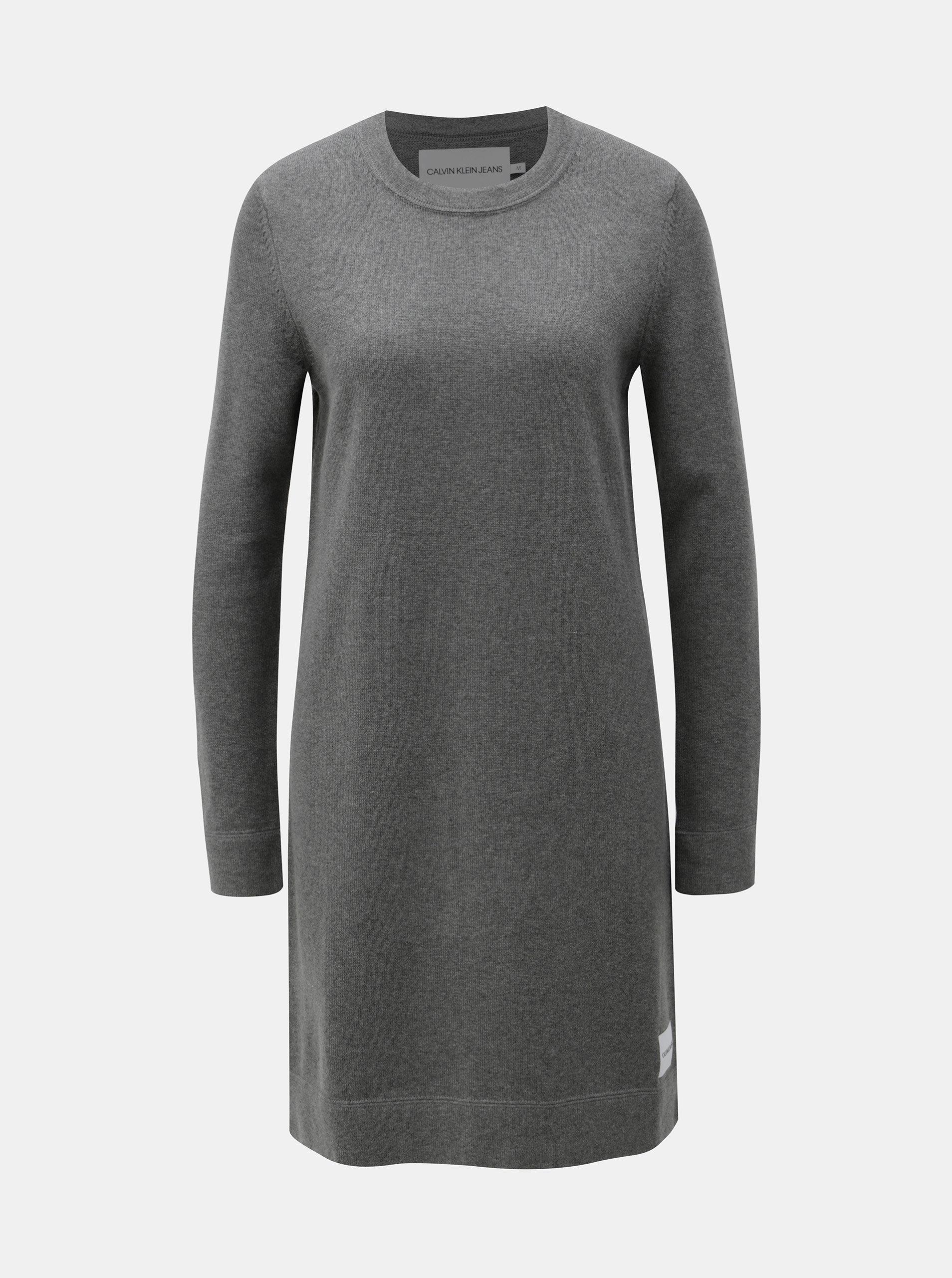 23fa96465aa8 Sivé svetrové šaty s prímesou vlny Calvin Klein Jeans ...