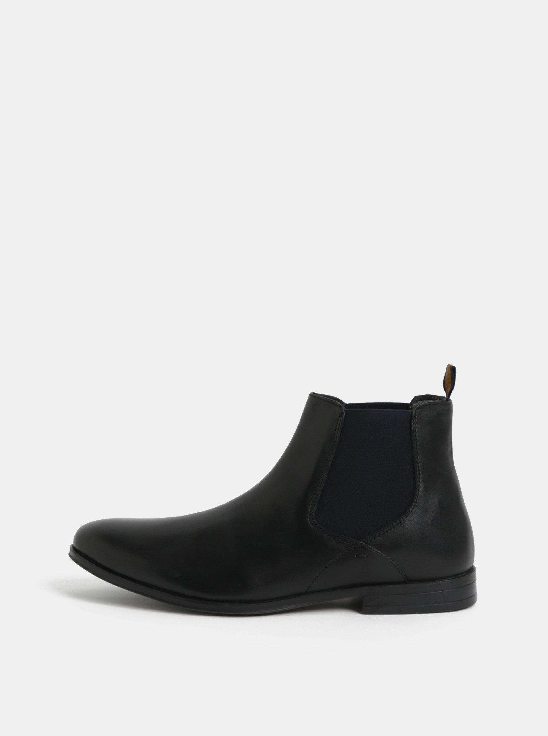Černé pánské kožené kotníkové boty Burton Menswear London Rafferty