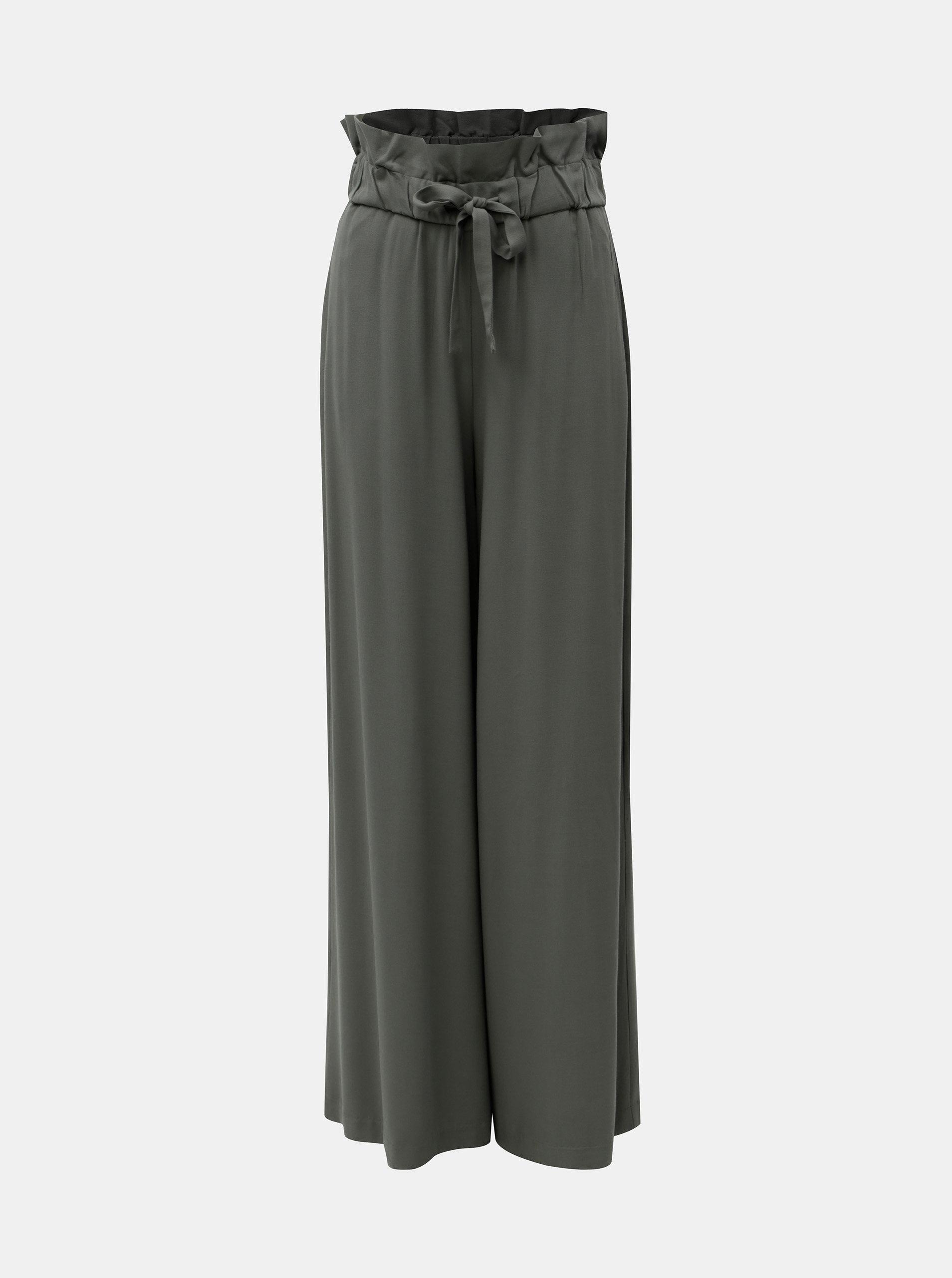 Zelené široké kalhoty s gumou v pase VILA Amaly 8e8fb7ca7151f