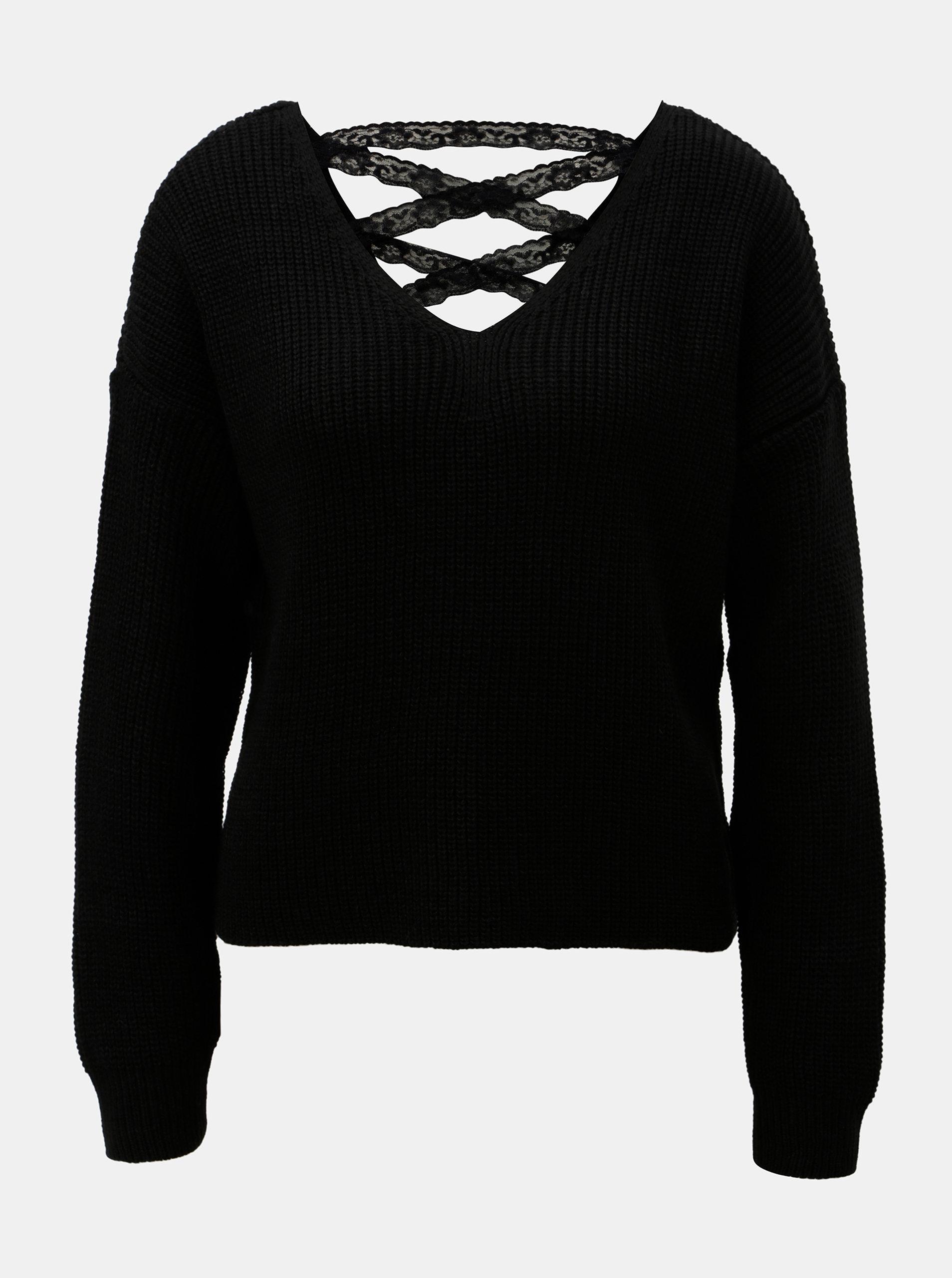 9064604d5aa0 Čierny krátky sveter s čipkovaným šnurovaním Miss Selfridge ...