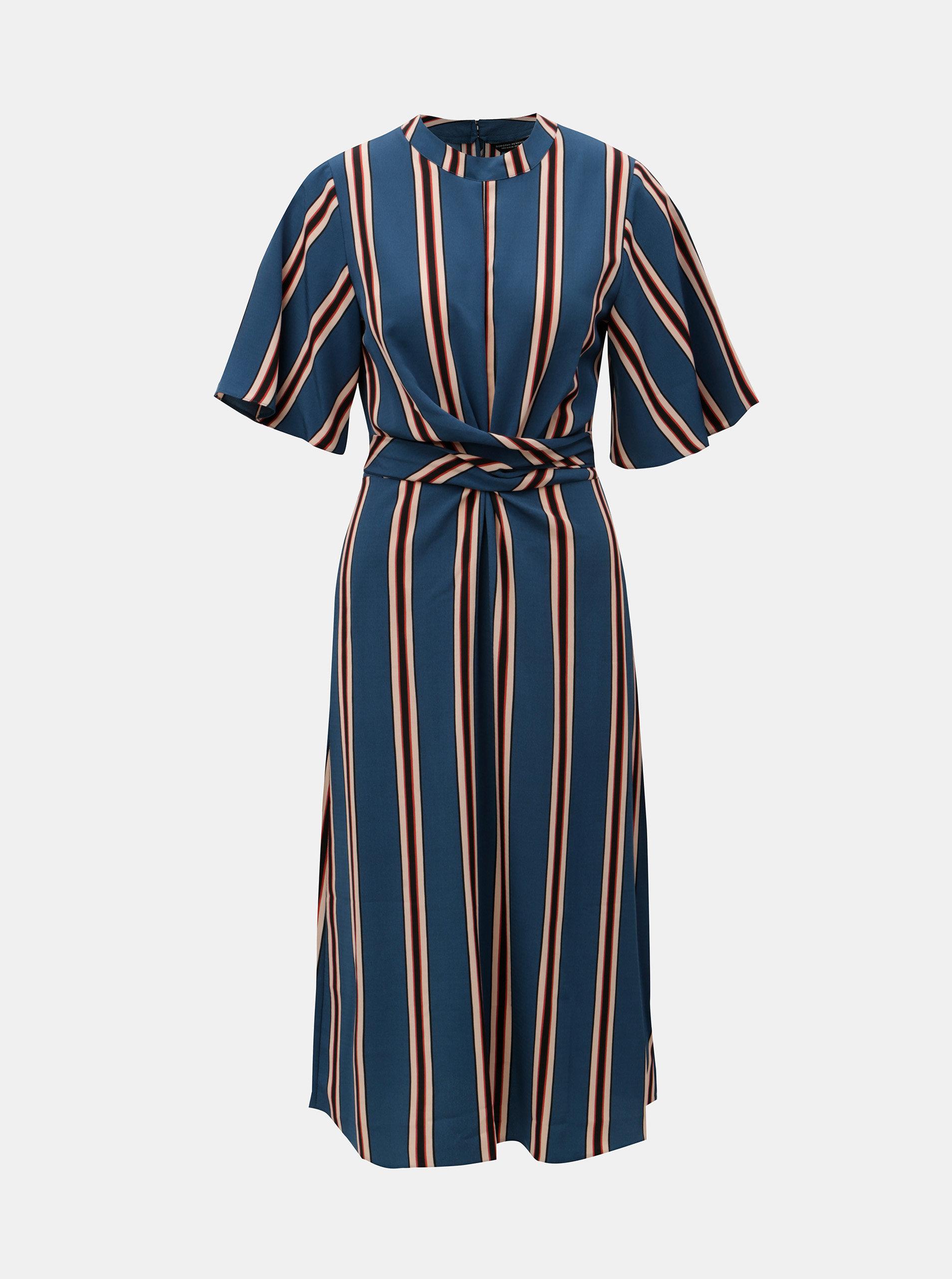 bb4244b52200 Modré dlhé pruhované šaty so zaväzovaním Dorothy Perkins ...
