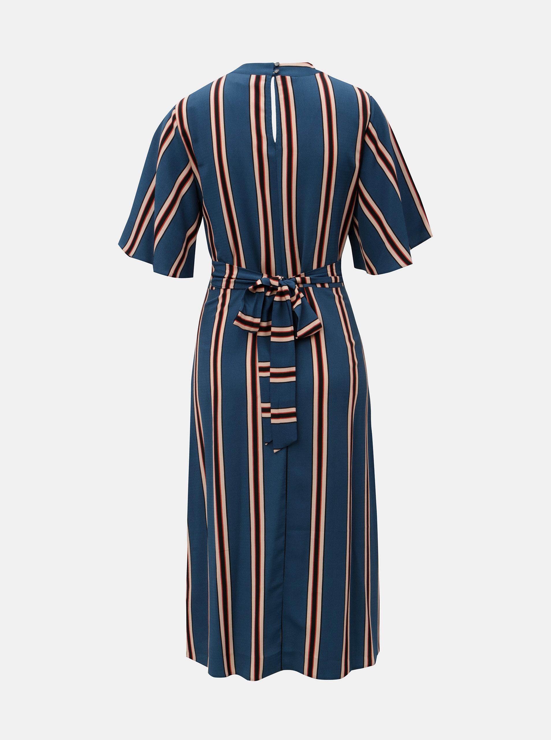 3f90859ae Modré dlhé pruhované šaty so zaväzovaním Dorothy Perkins   ZOOT.sk