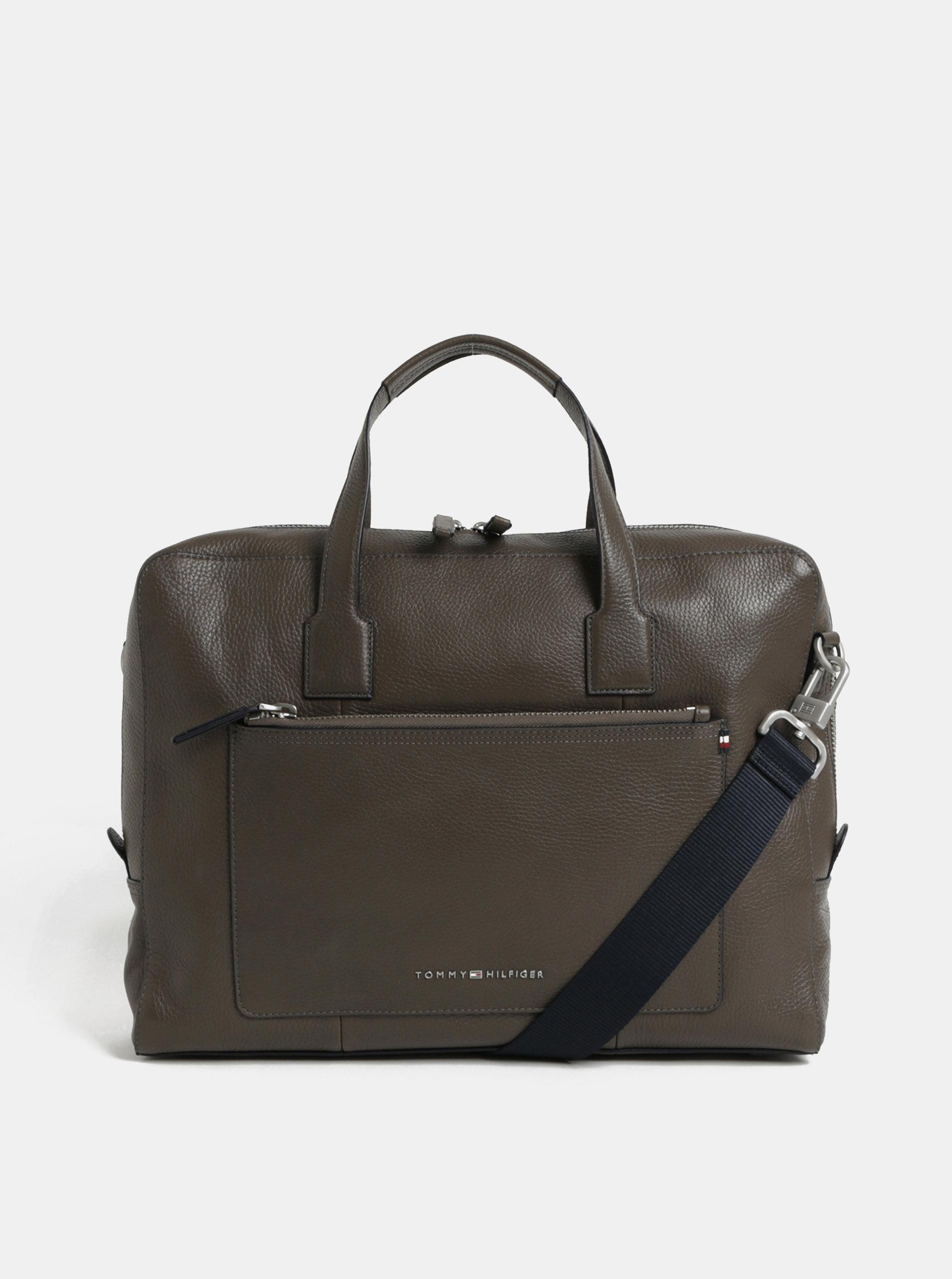 Hnedá kožená taška na notebook Tommy Hilfiger ... e0525a9e32a