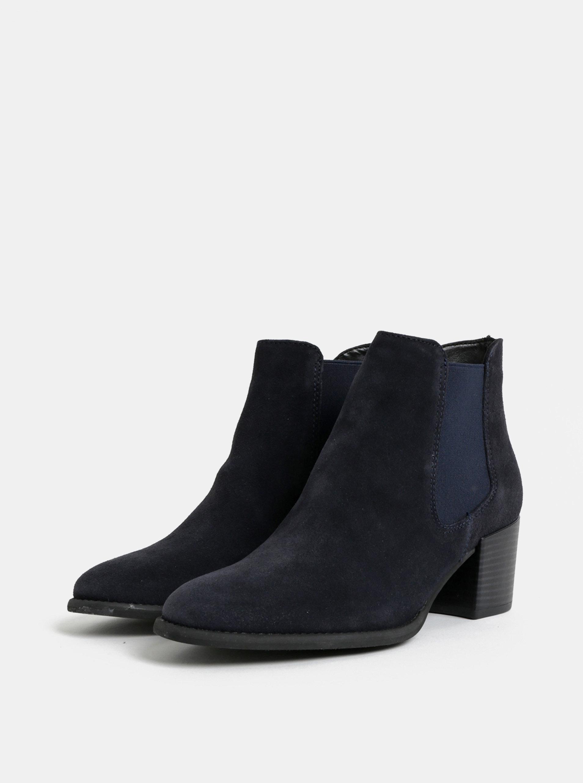 Tmavě modré semišové chelsea boty na podpatku Tamaris ... 48977ca697