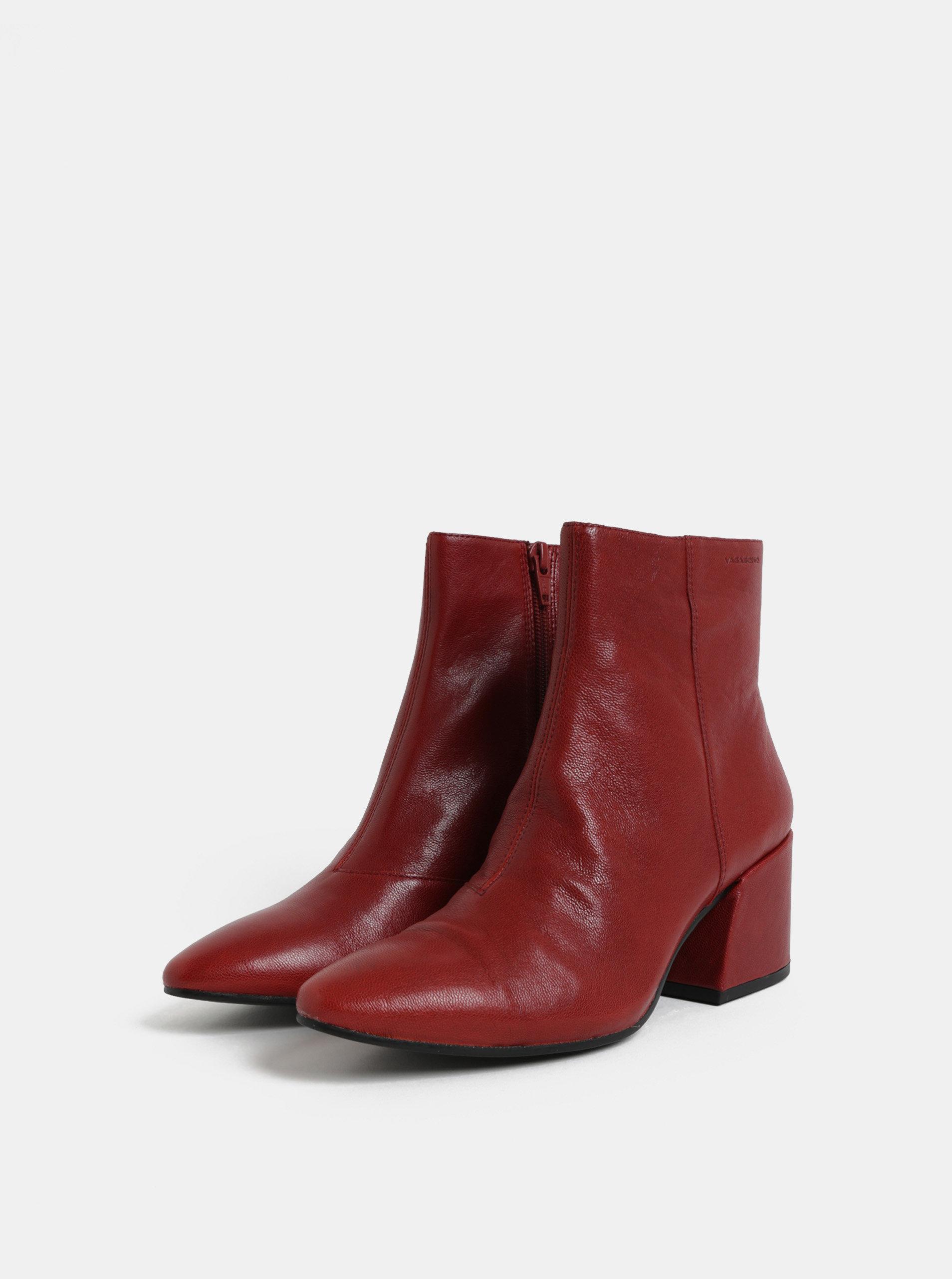 b394857cfd43 Červené dámske kožené členkové topánky na podpätku Vagabond Olivia ...