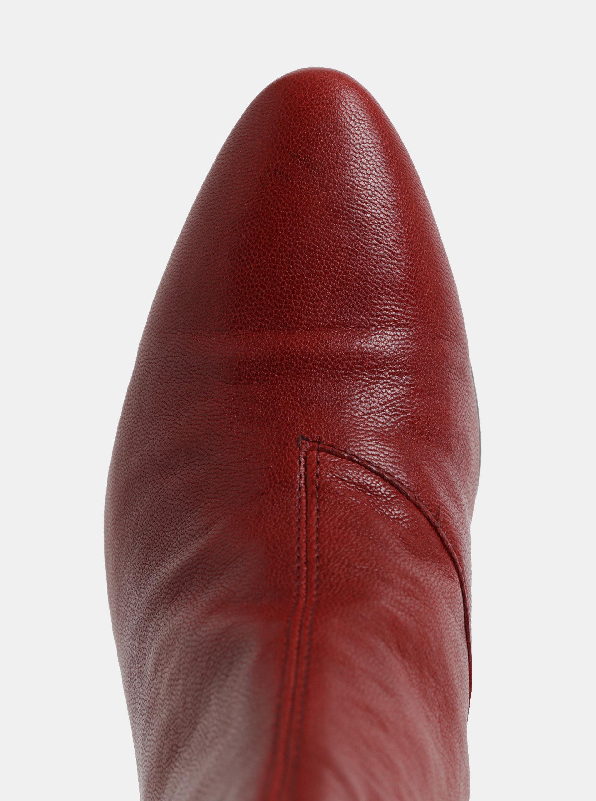 a2816bc3956 Červené dámské kožené kotníkové boty na podpatku Vagabond Olivia ...