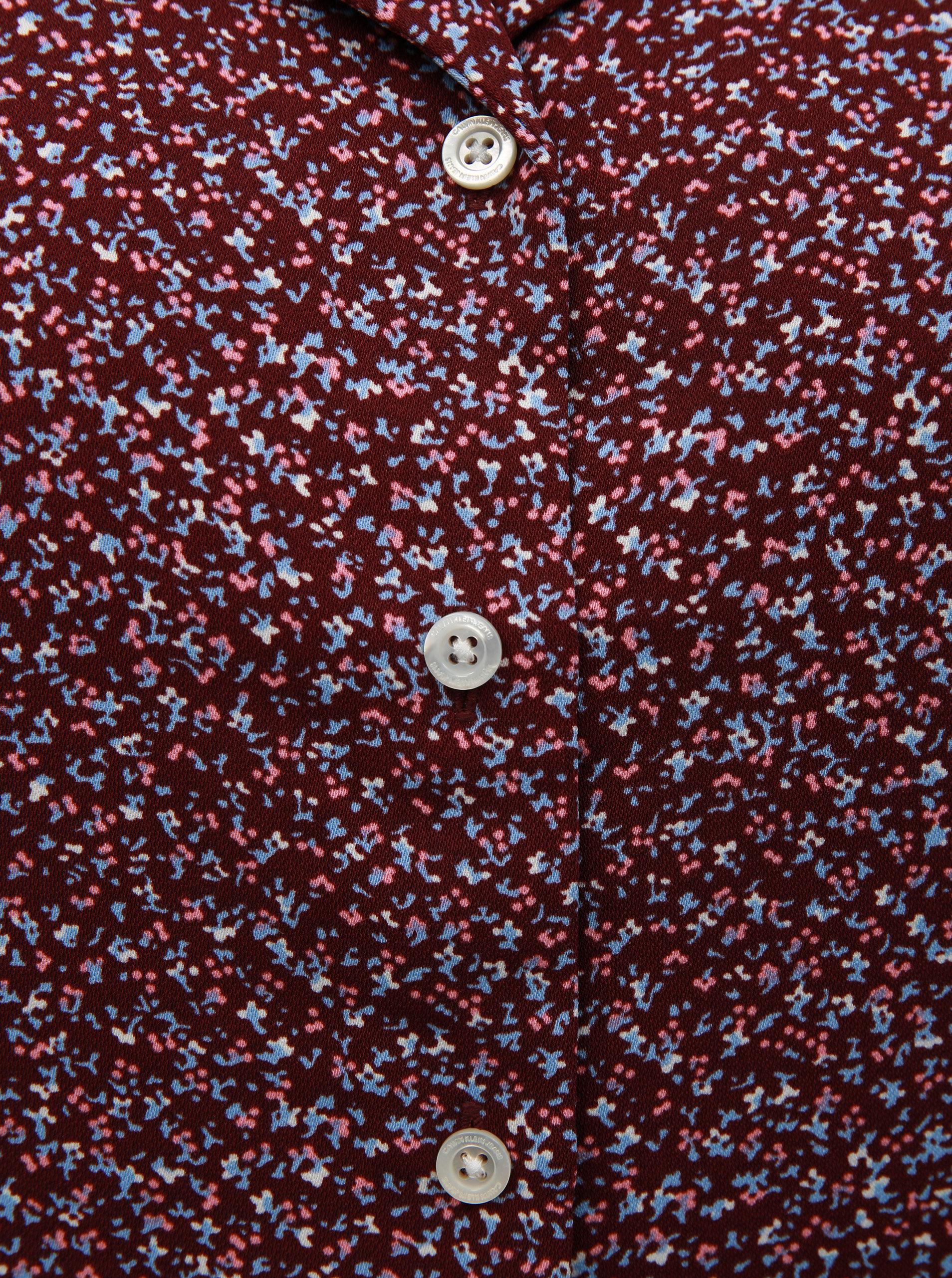 1629a247f6 Vínové kvetované košeľové šaty s nášivkou Calvin Klein Jeans ...