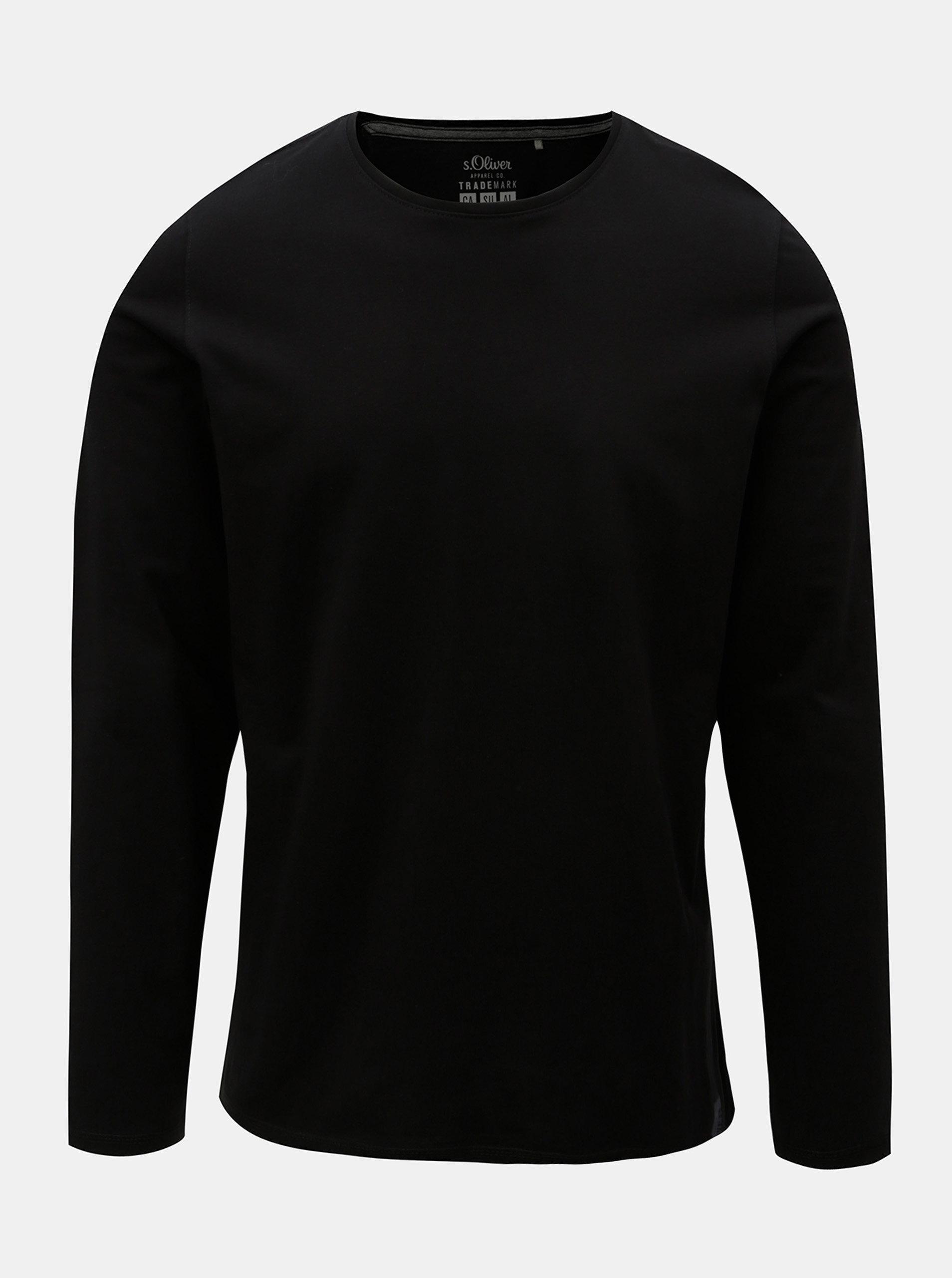 Černé pánské tričko s dlouhým rukávem S.Oliver