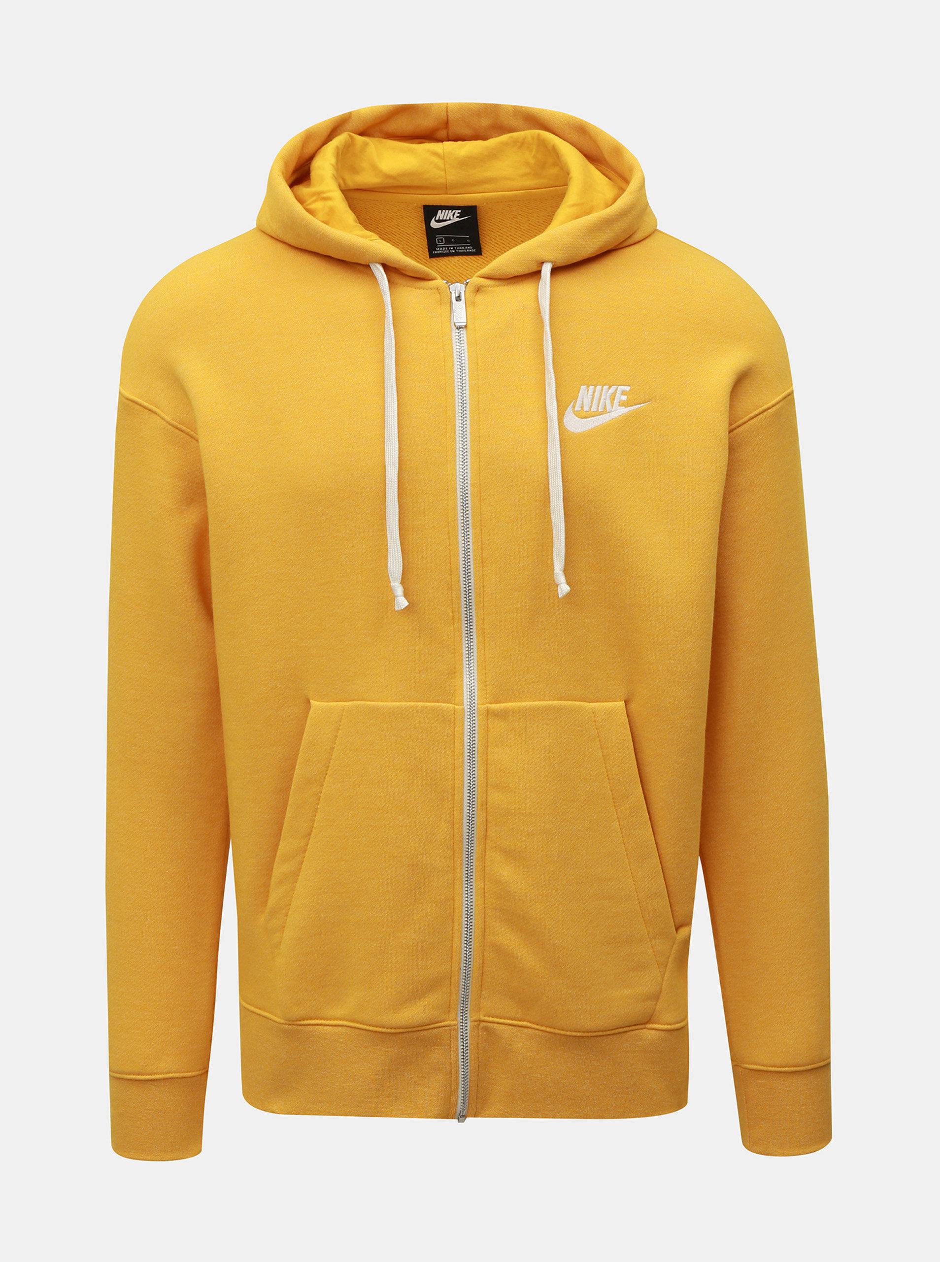 Žltá pánska mikina na zips s výšivkou Nike Heritage ... 980e181973a