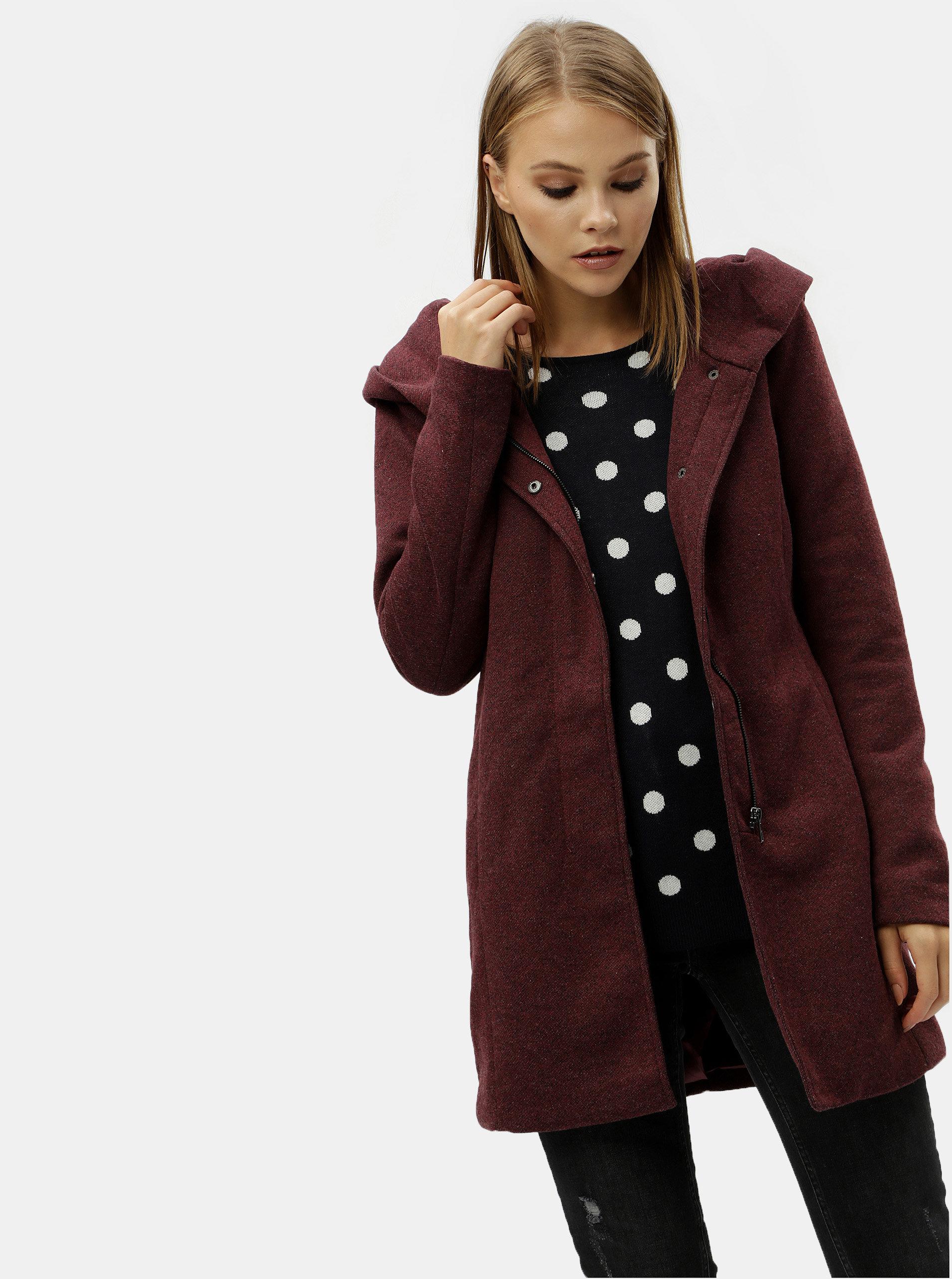 Vínový žíhaný kabát s kapucí ONLY Sedona