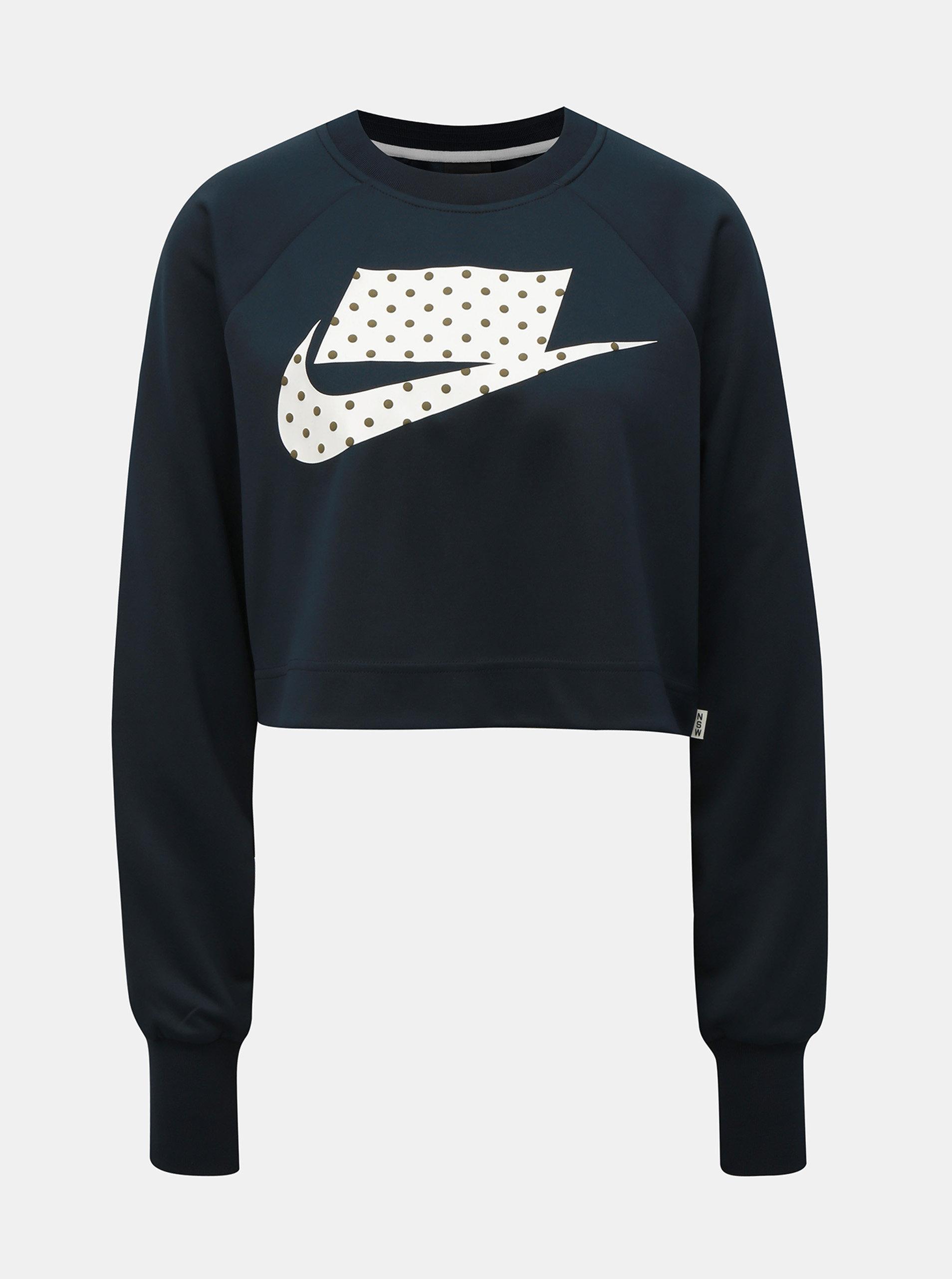 Tmavě modrá volná crop mikina s potiskem Nike
