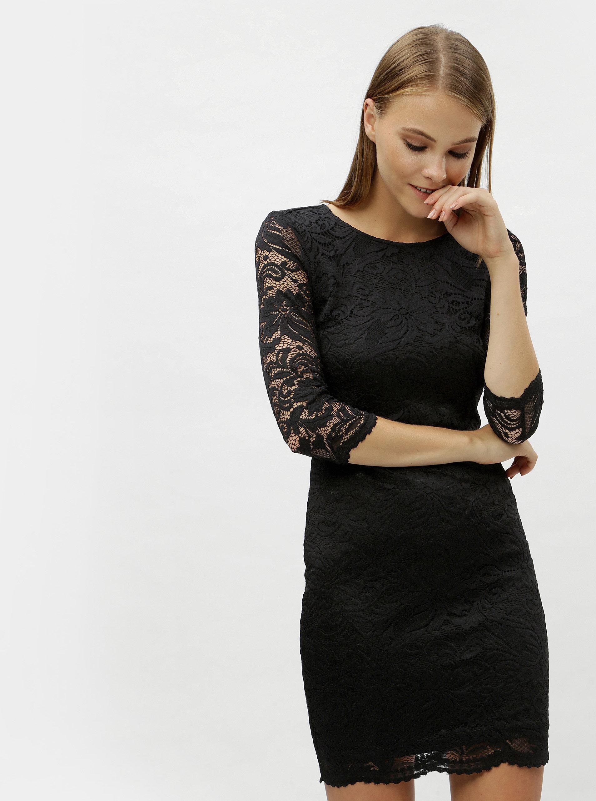 d9ea2307ca1 Černé krajkové šaty s průstřihem na zádech VERO MODA Sandra ...
