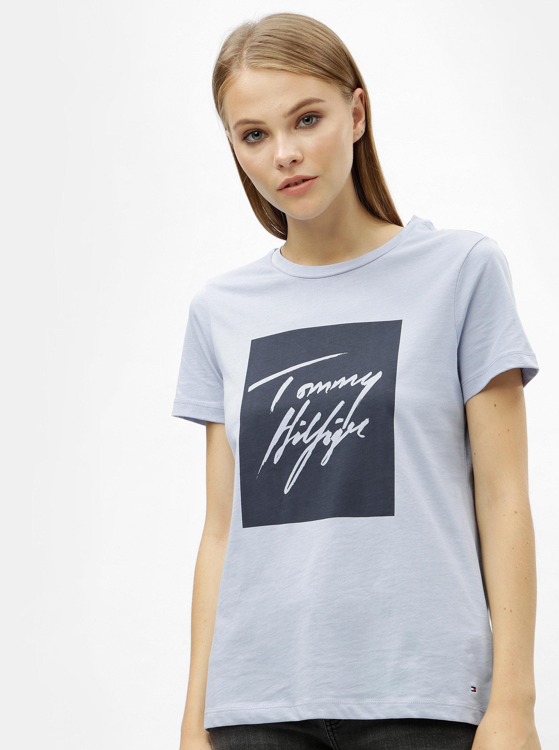 a755a771f71 Světle modré dámské tričko s potiskem Tommy Hilfiger Effy ...