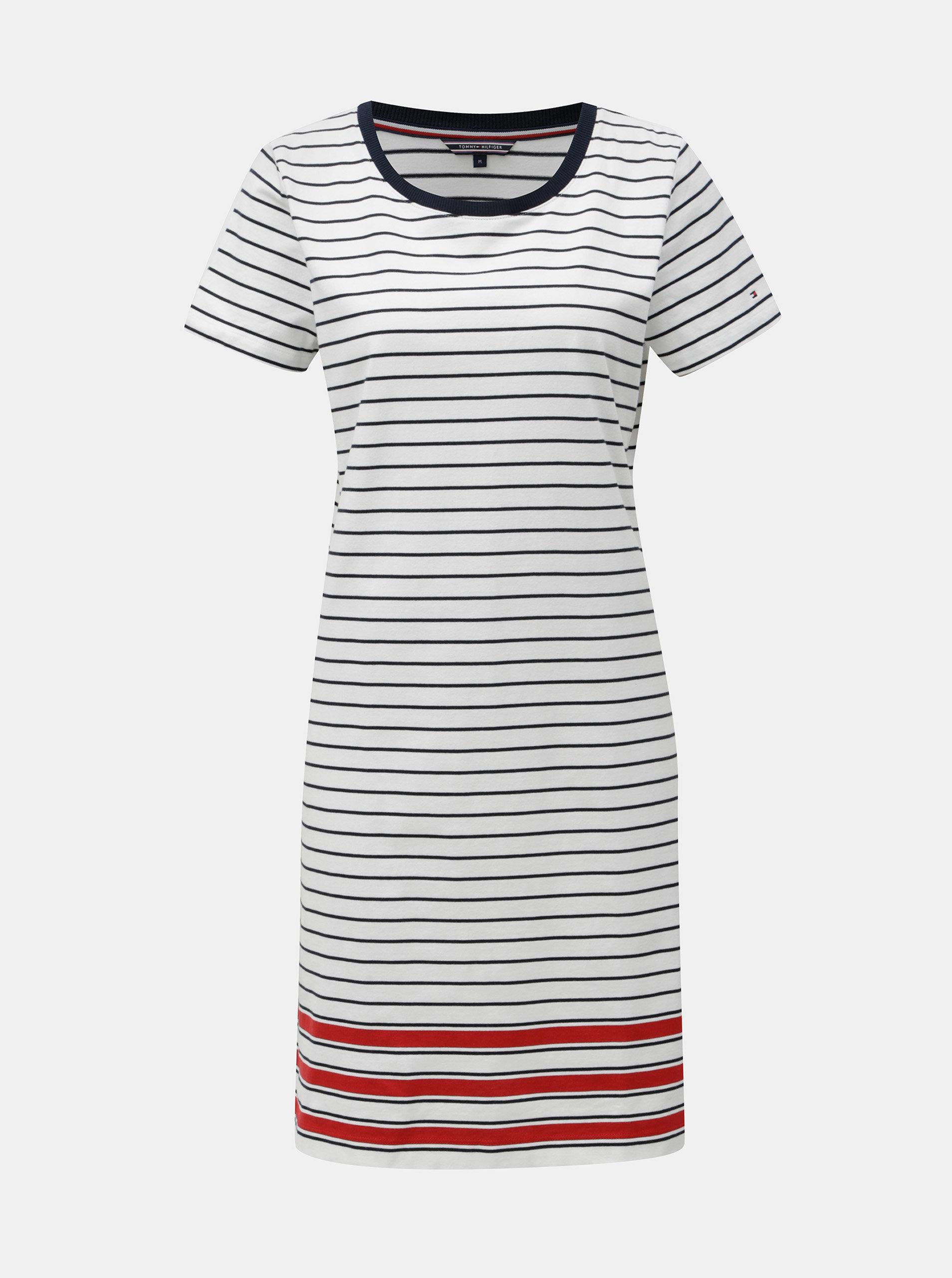 Bílé pruhované šaty s krátkým rukávem Tommy Hilfiger Diara ... ca80ac963b9