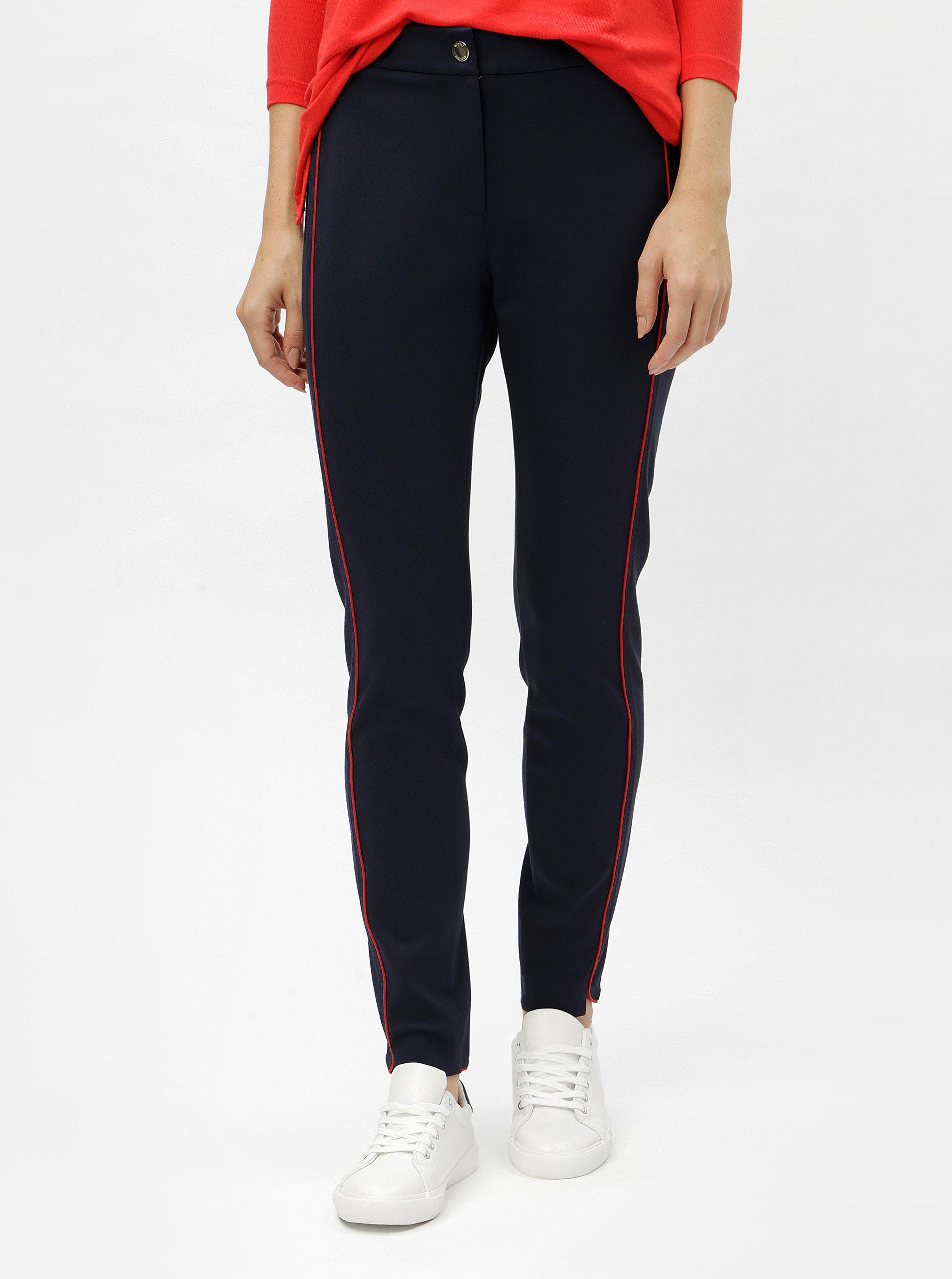 Tmavě modré dámské kalhoty s pruhy na boku Tommy Hilfiger Imogen ... e92848a902