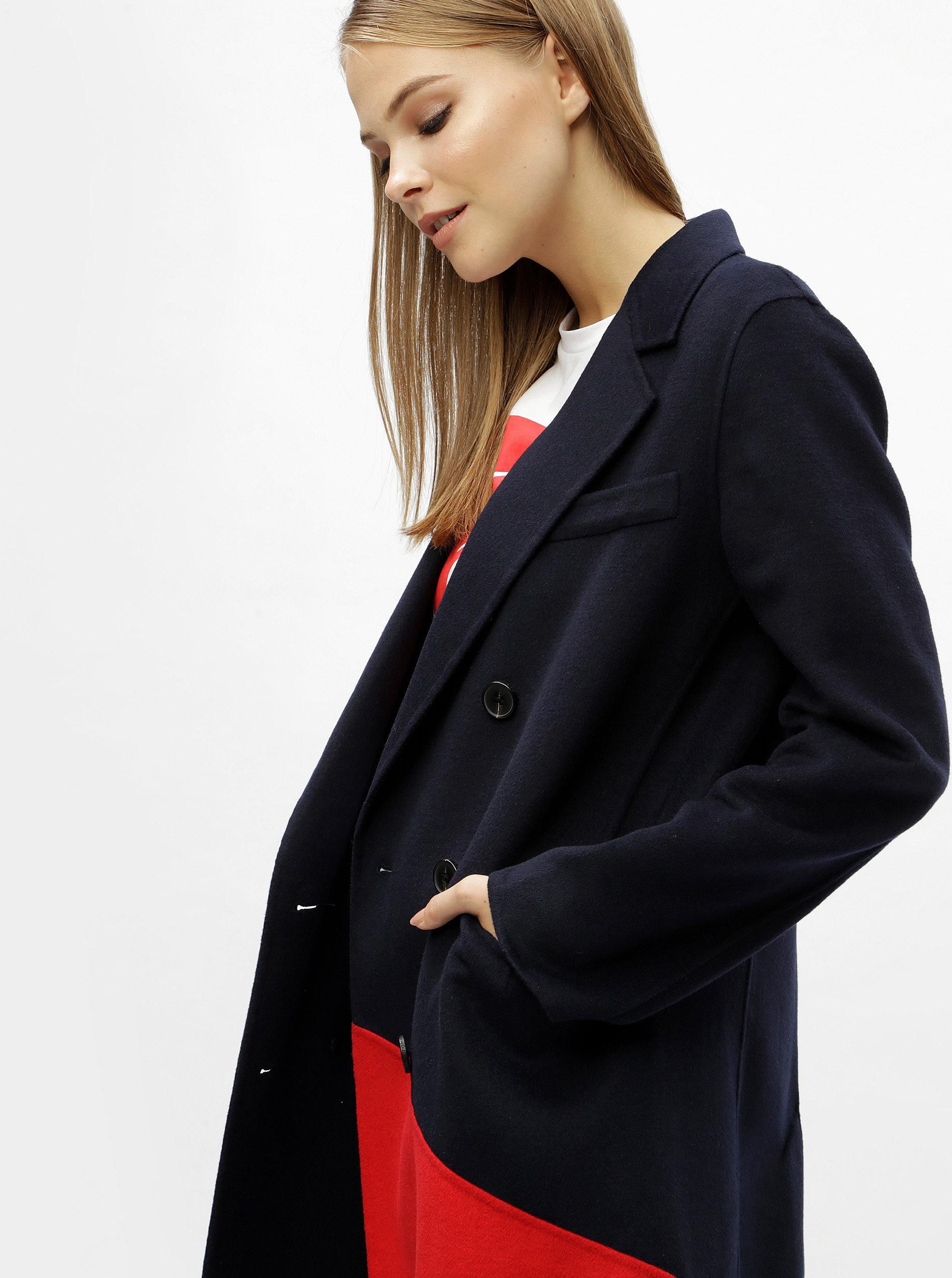 a8c3c11c193 Modrý dámský lehký vlněný kabát Tommy Hilfiger ...