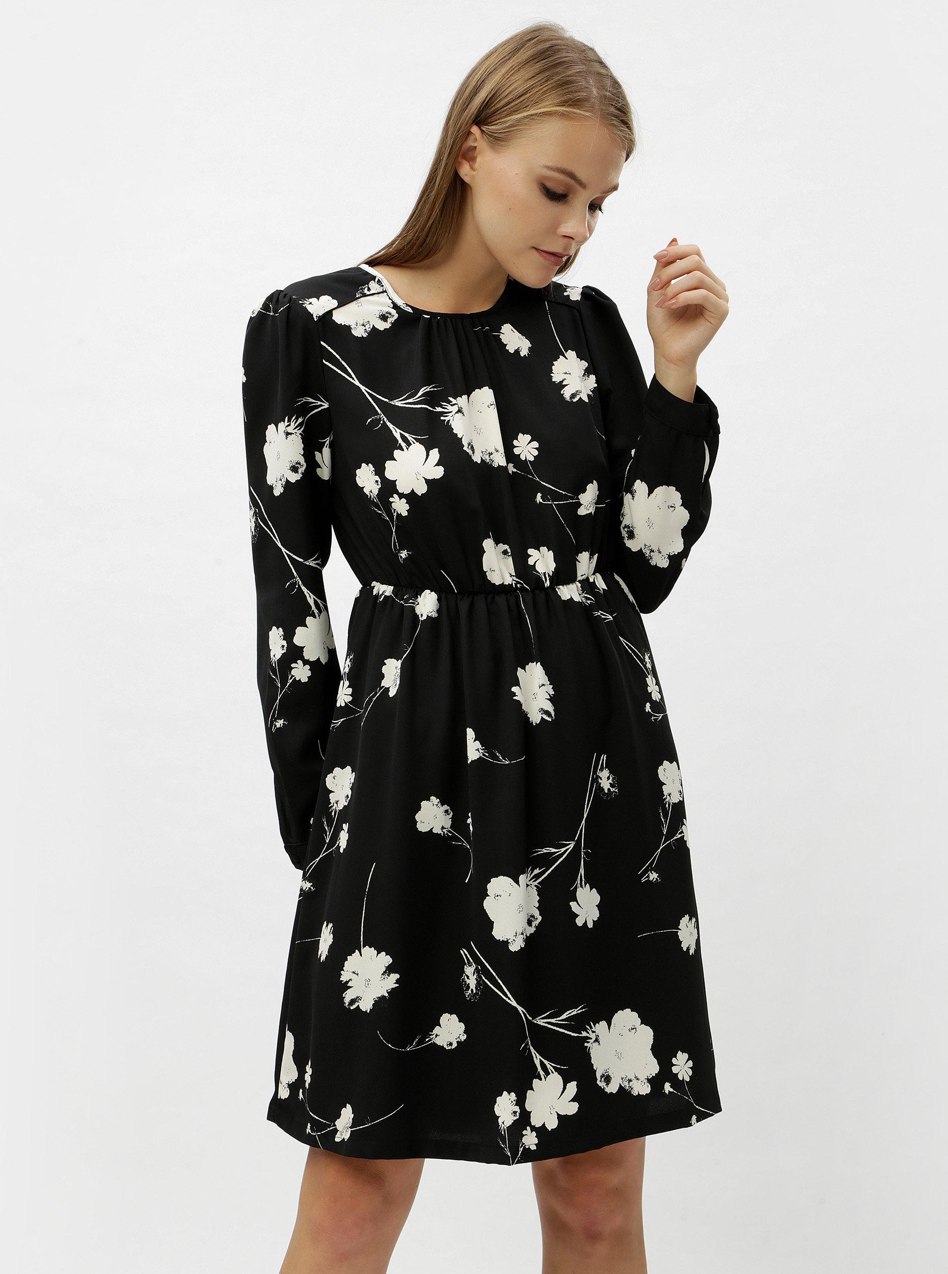 1b83f8faf31d Černé květované šaty s dlouhým rukávem VERO MODA Zitta ...