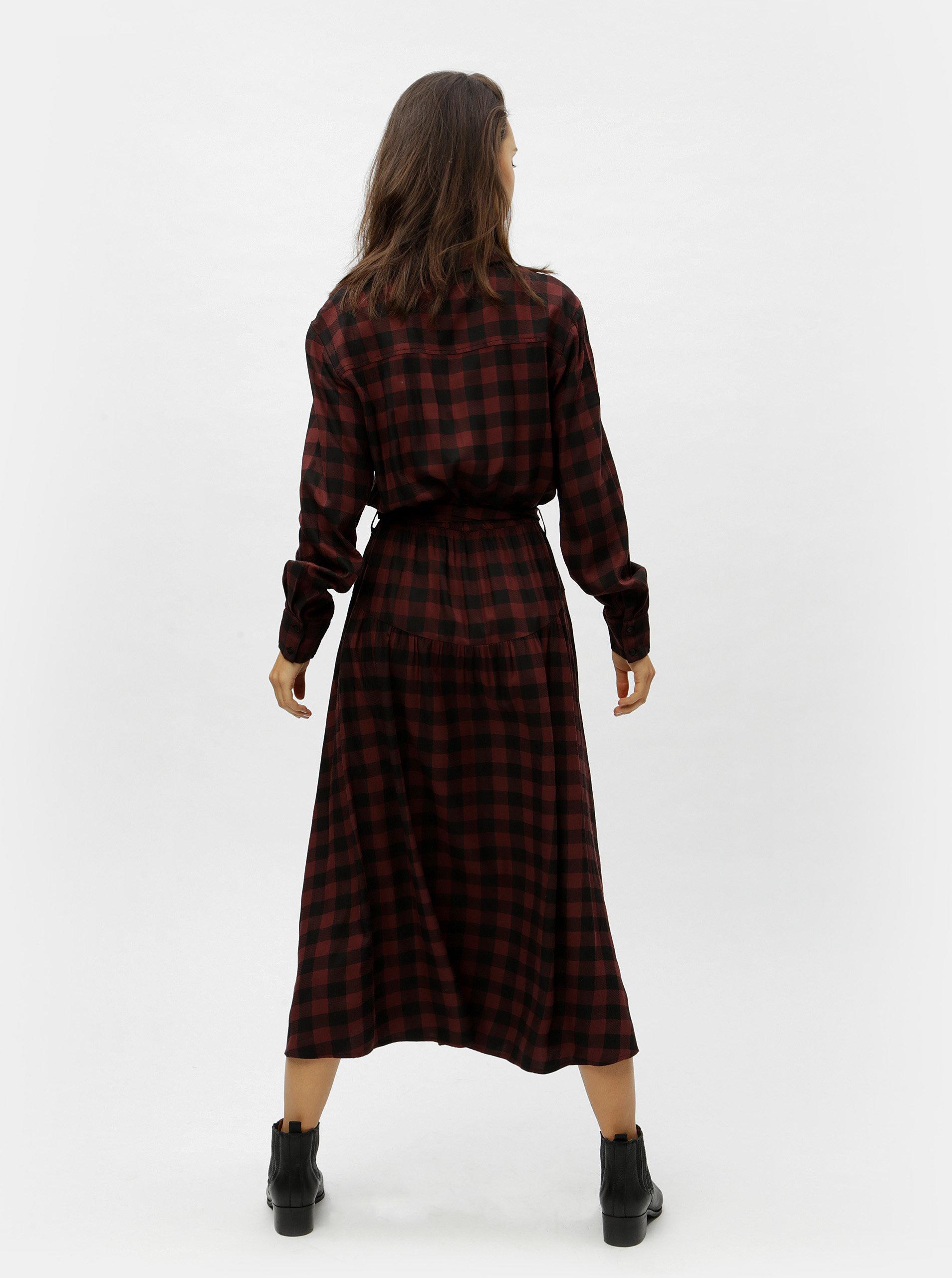 22b465b3a Vínovo-čierne kockované košeľové dlhé šaty Moss Copenhagen Ena | ZOOT.sk
