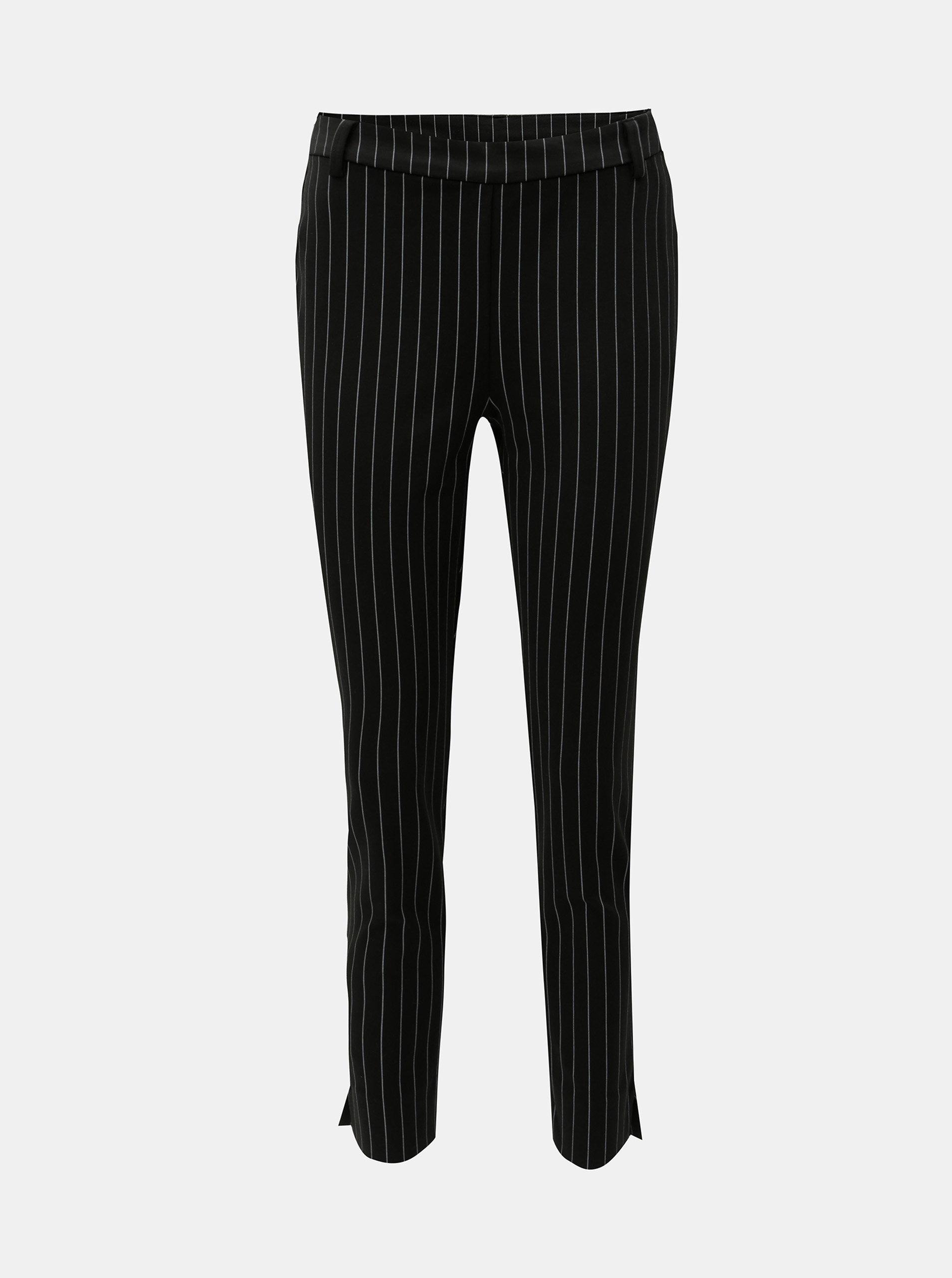 Černé zkrácené pruhované kalhoty VERO MODA Hella