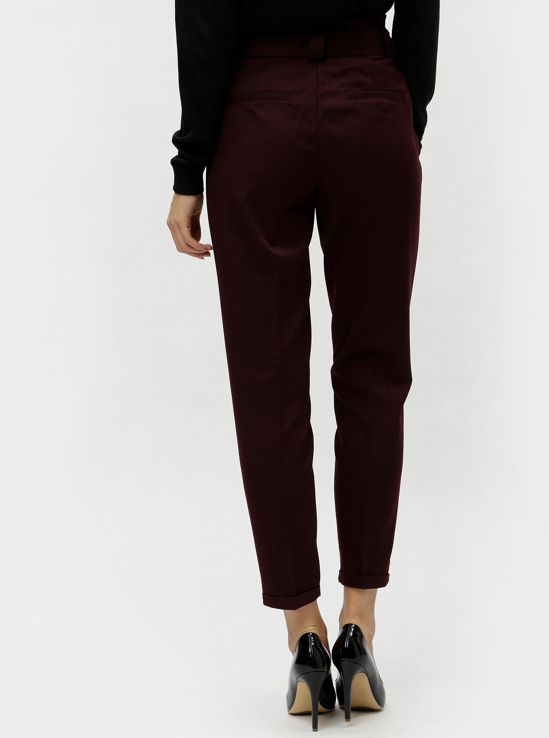 Vínové zkrácené kalhoty s vysokým pasem VERO MODA Delfina ... 57a0a90a2b