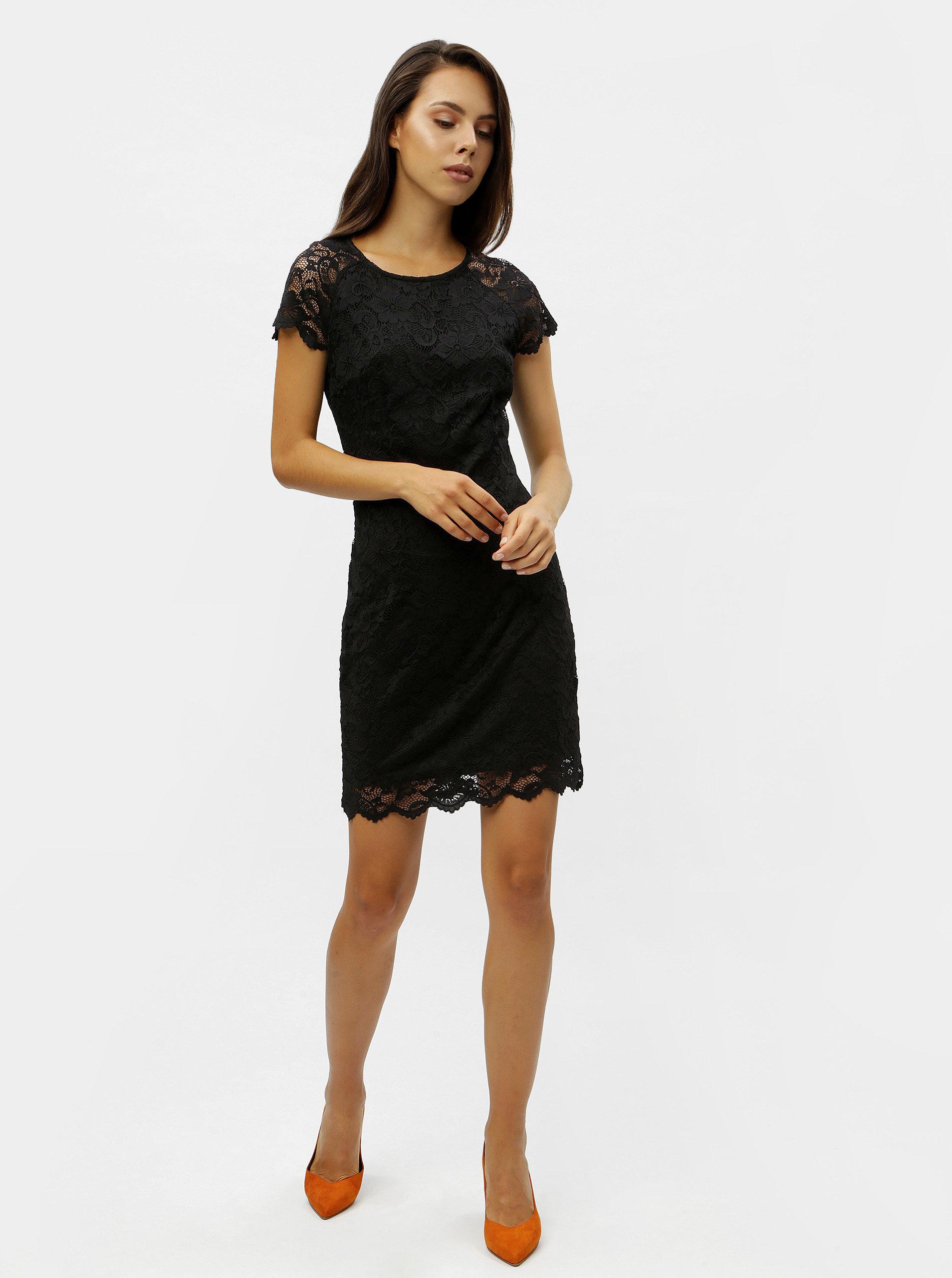6f4c52a9cea9 Čierne čipkované šaty s krátkym rukávom VERO MODA Milli ...