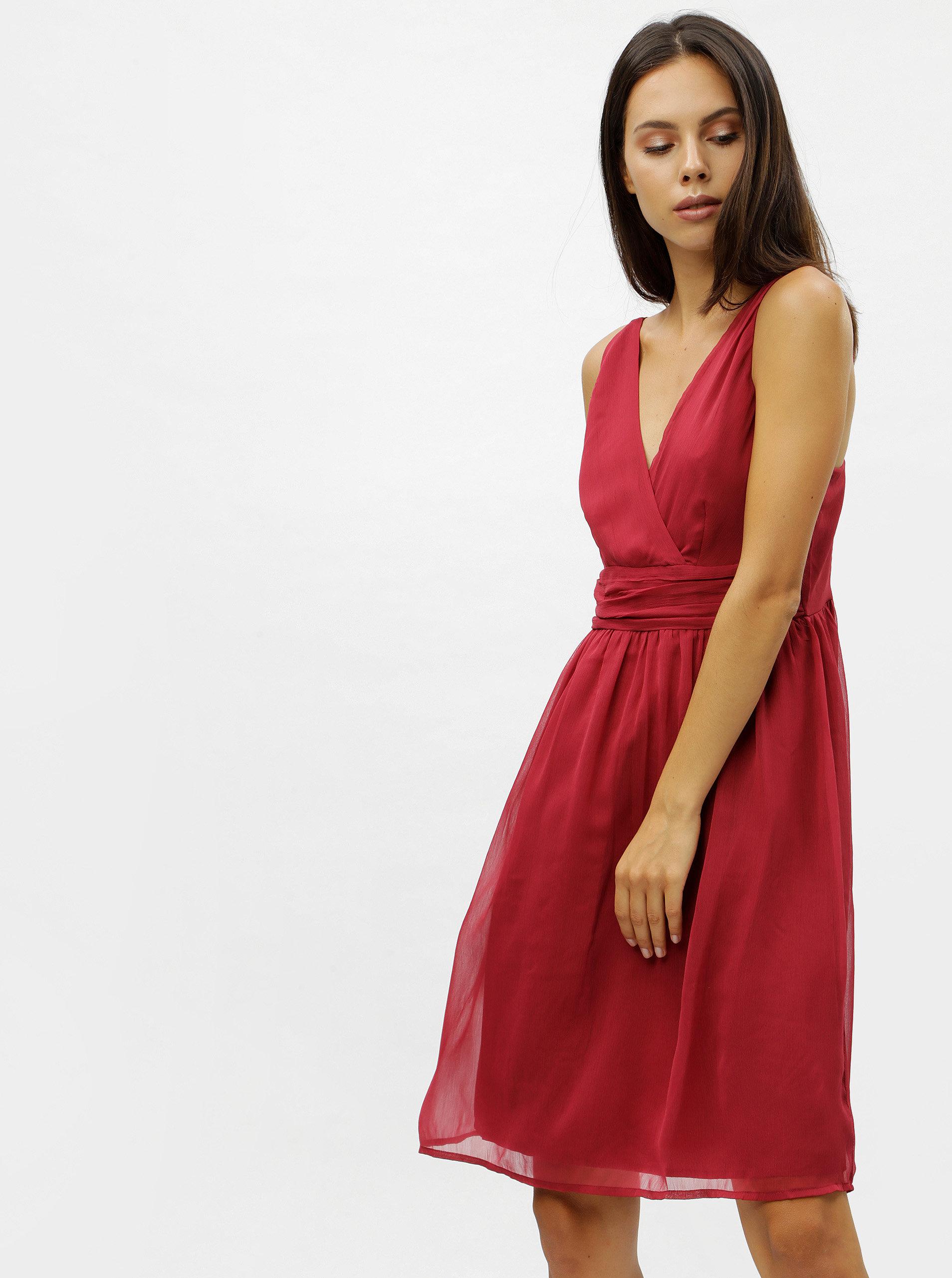 Vínové šaty na ramínka VERO MODA Josephine
