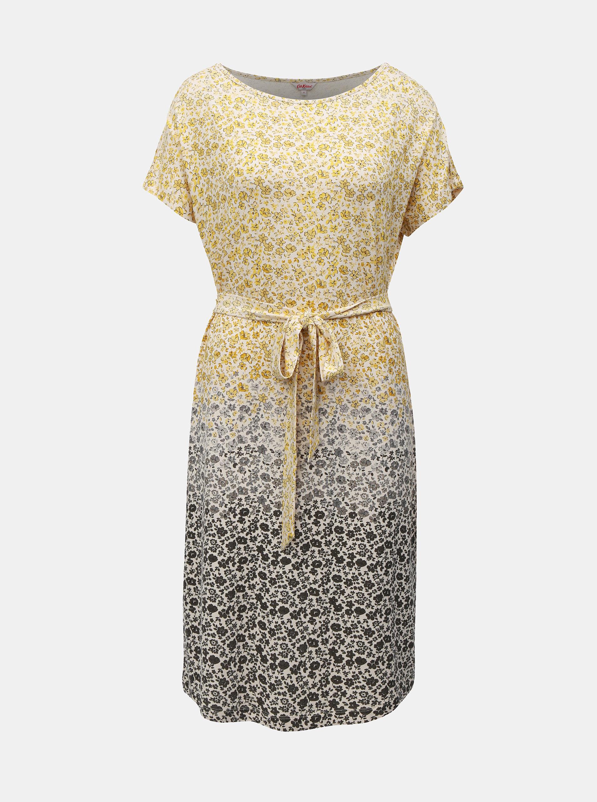 Šedo-žluté dámské květované šaty Cath Kidston ... bc9ab73903