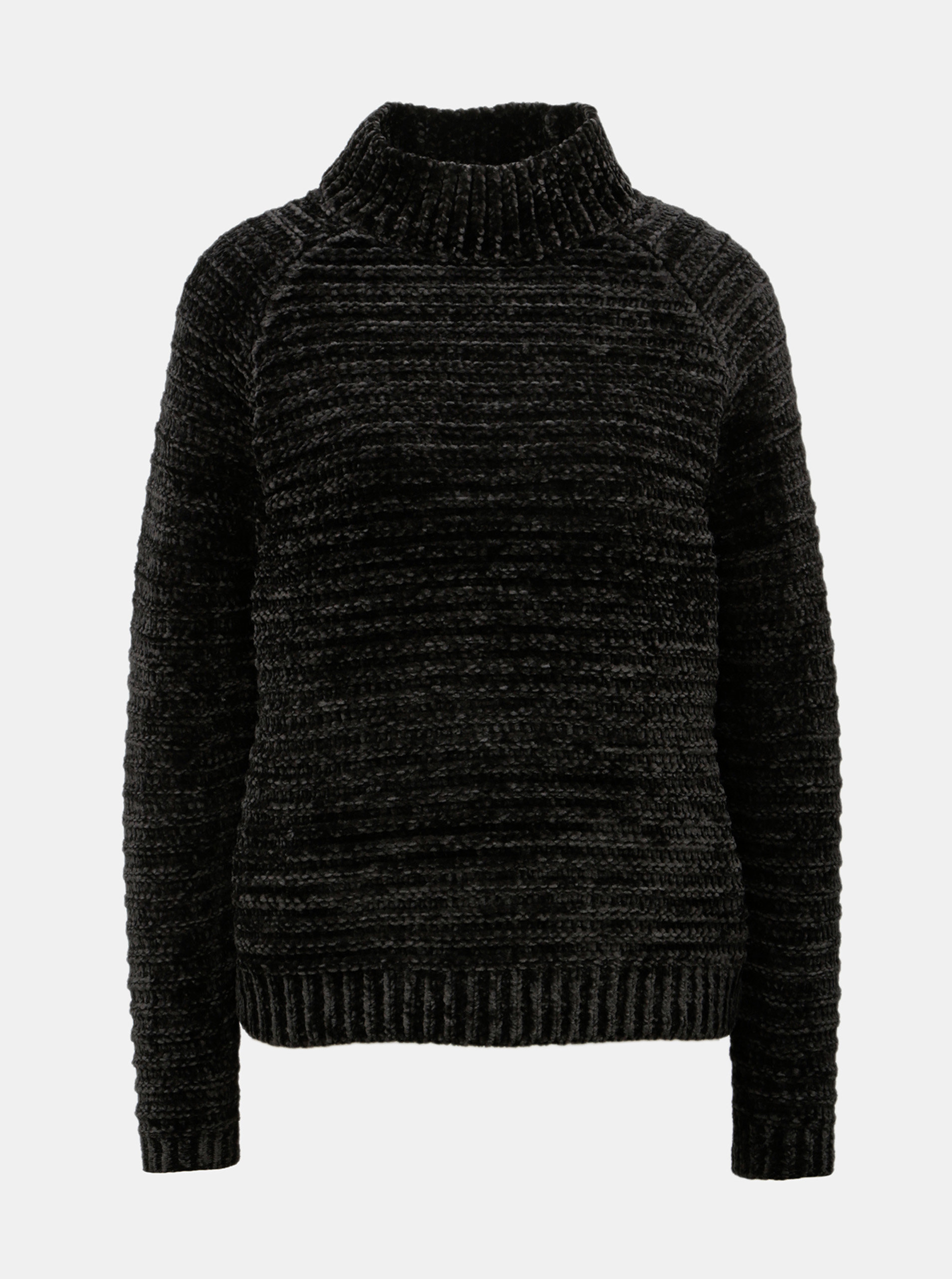 Černý žíhaný svetr se stojáčkem VERO MODA
