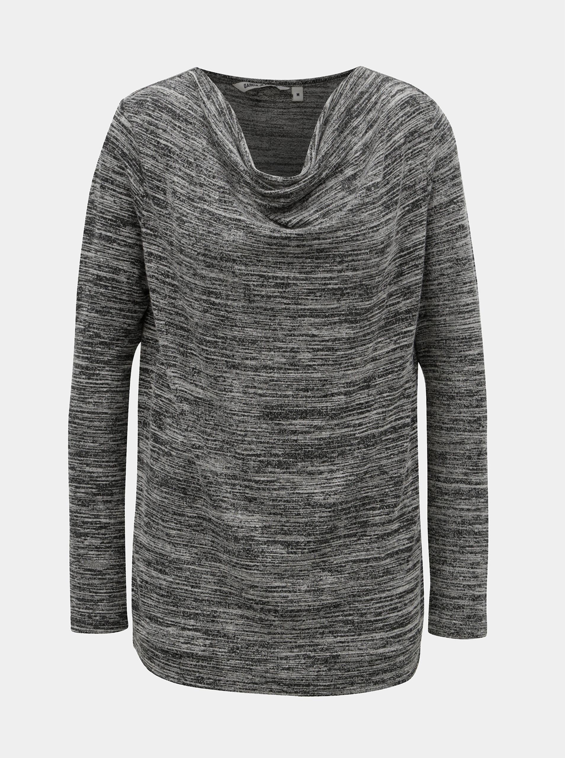 Černo-šedé dámské žíhané tričko s dlouhým rukávem Garcia Jeans ... 34634557f5