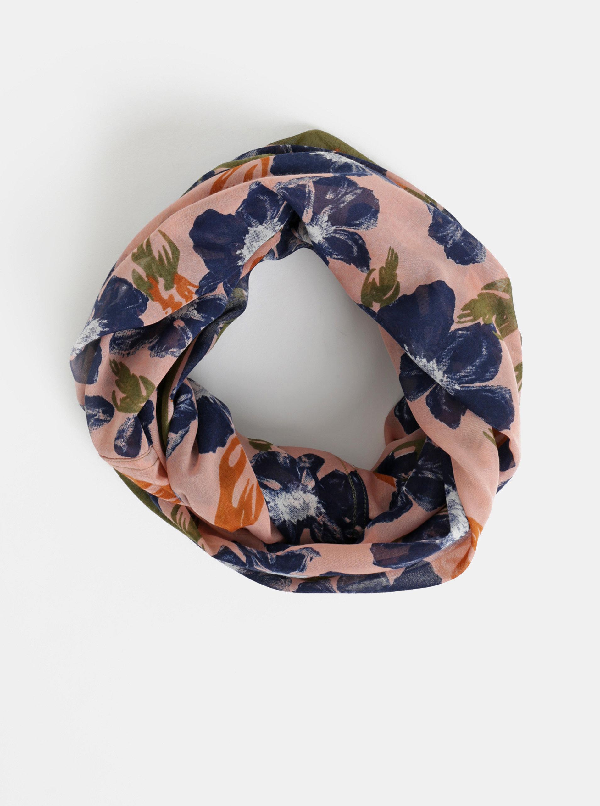 Modro-růžová květovaná dutá šála Pieces Tushe