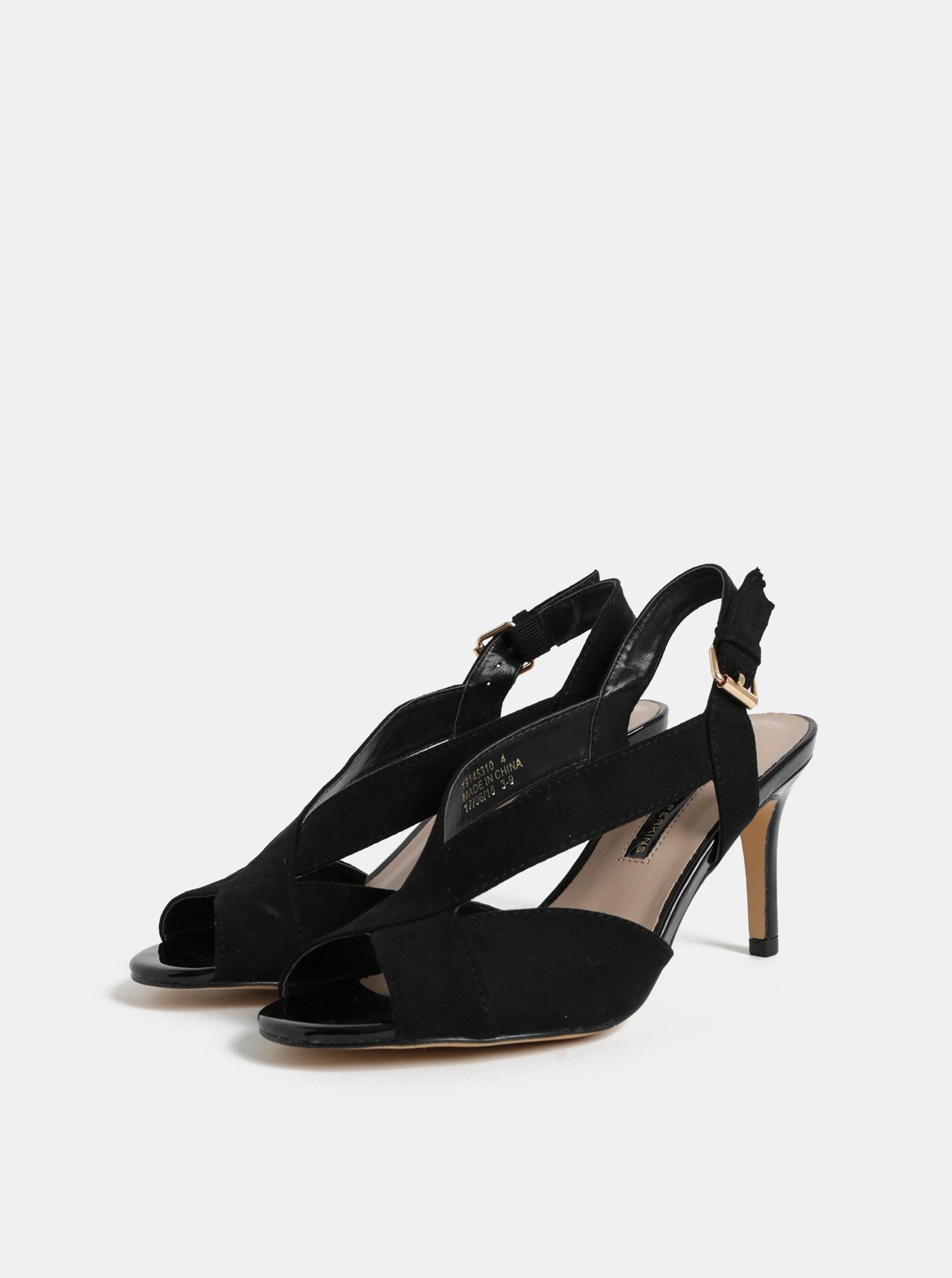 Černé sandály v semišové úpravě na jehlovém podpatku Dorothy Perkins Britney