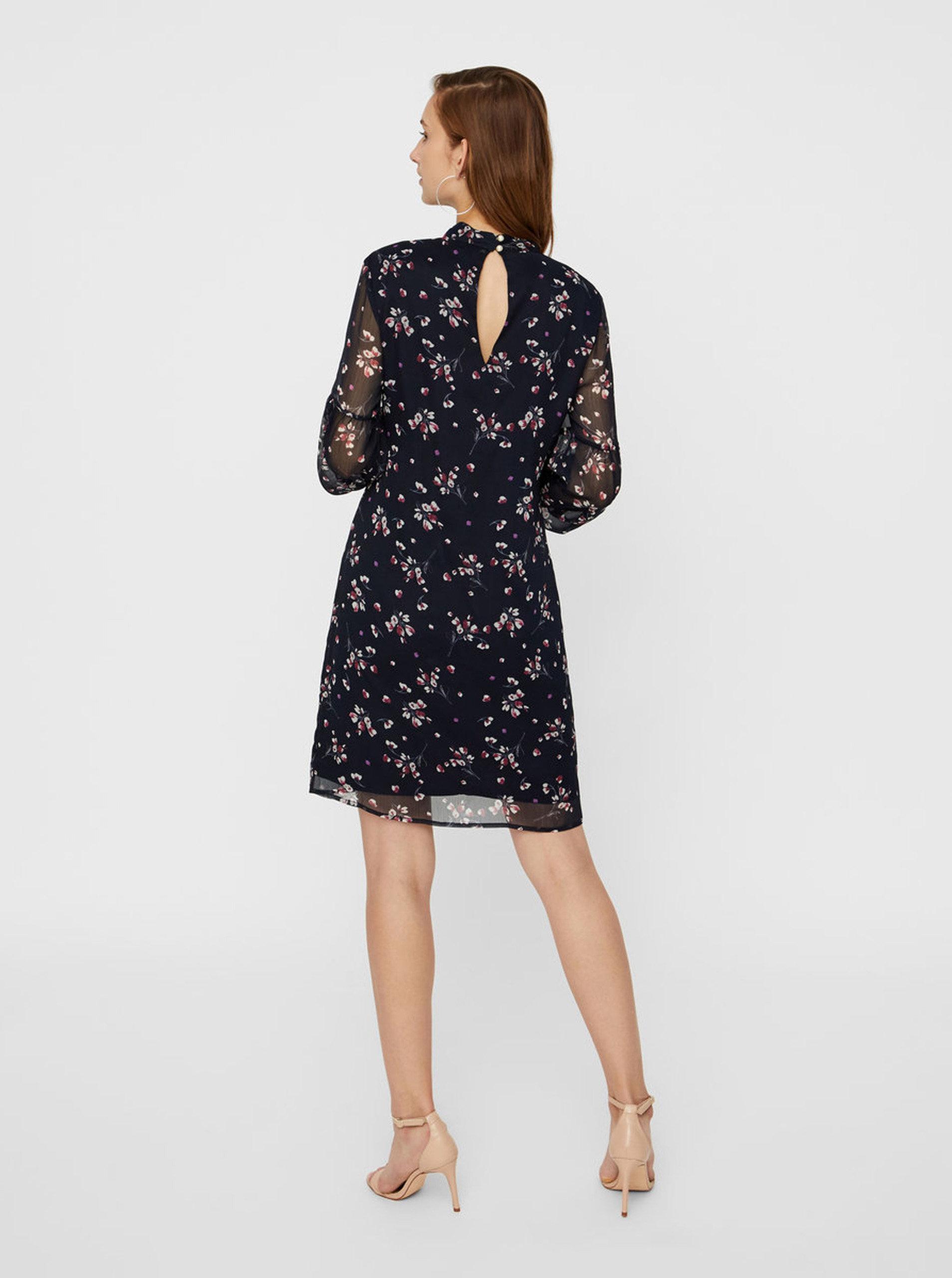 676edc8ef0 Tmavomodré kvetované šaty s dlhým rukávom VERO MODA ...